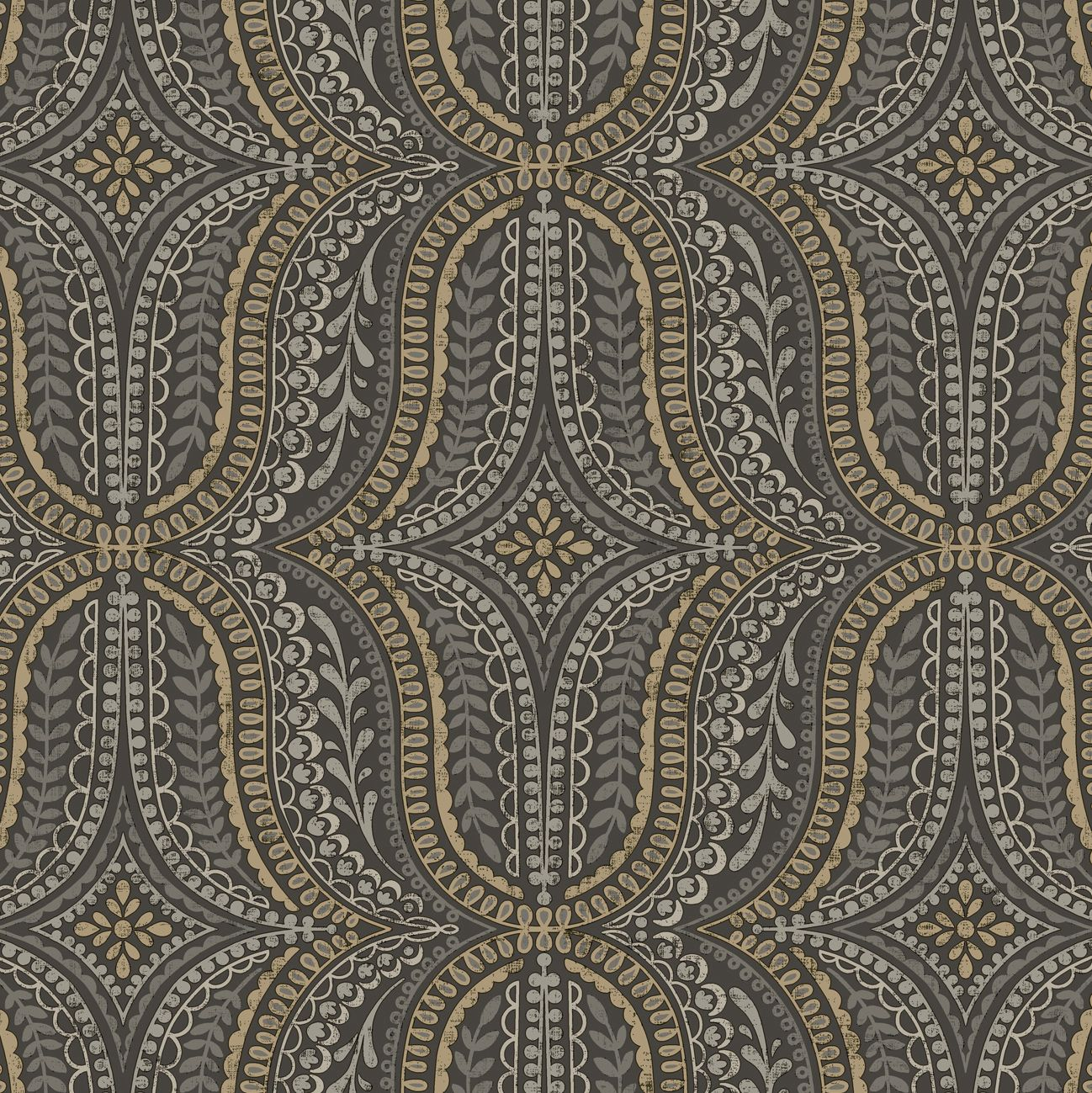 Statement Farah Black Gold Effect Geometric Wallpaper