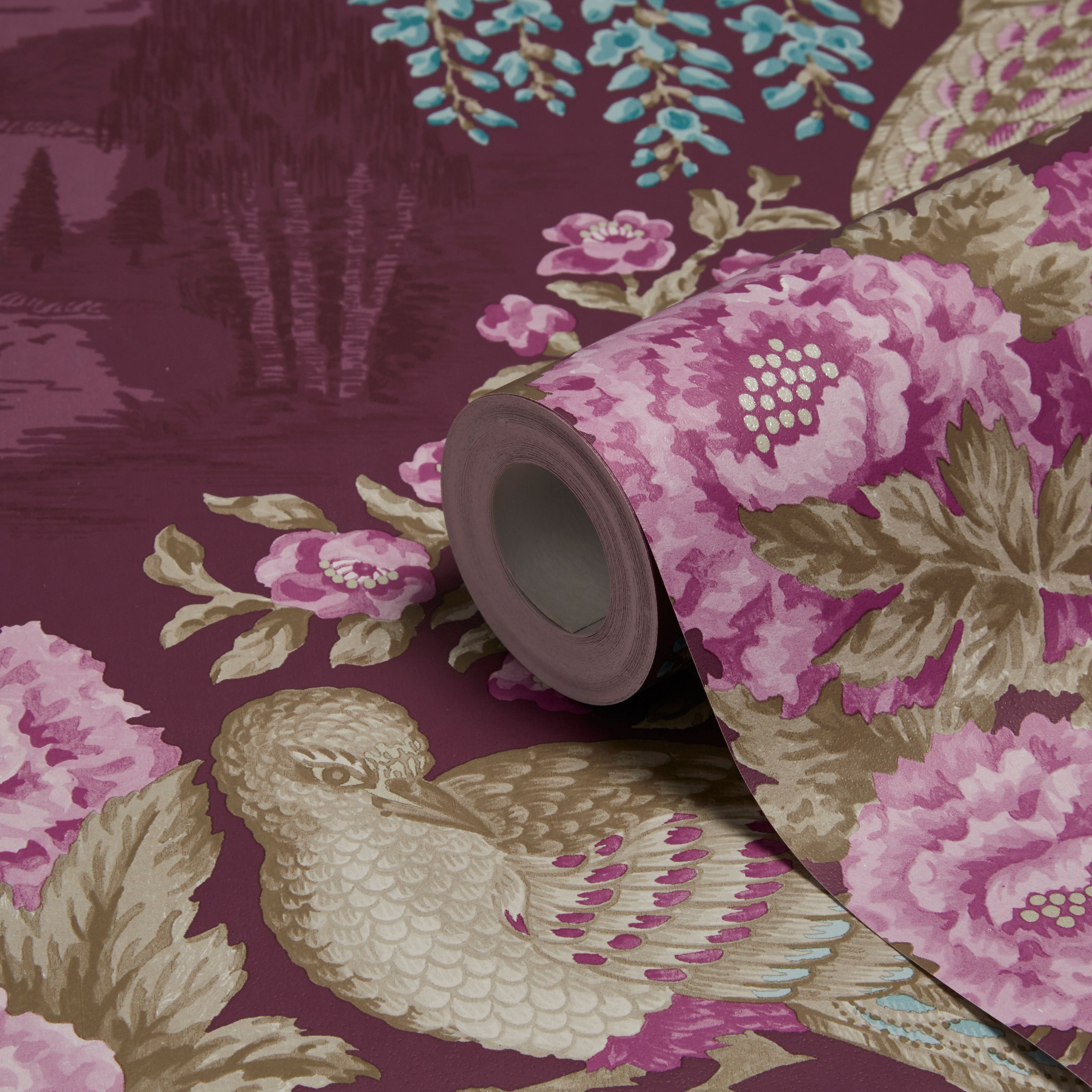 Holden Decor Sekiya Purple Floral Wallpaper