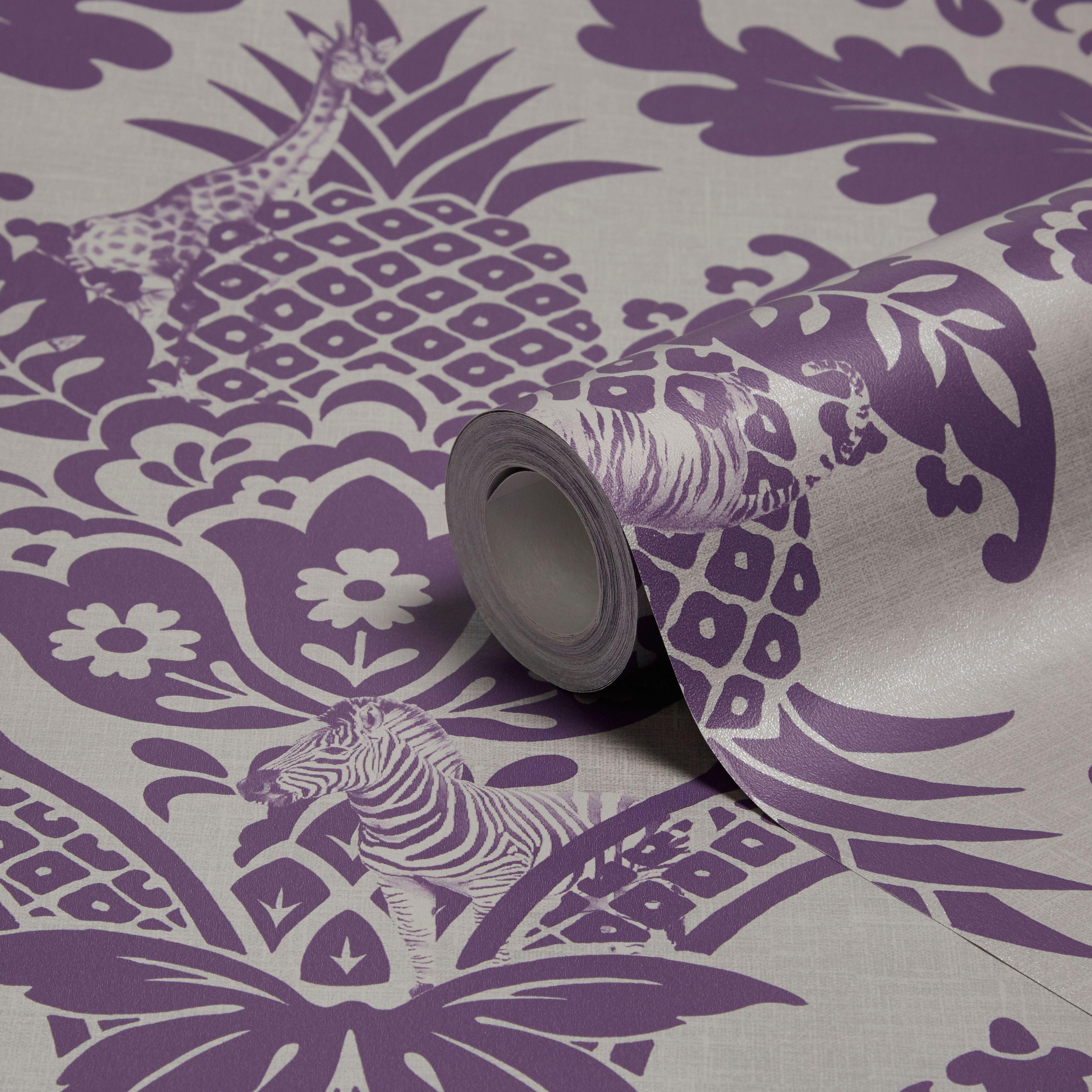 Holden Decor Bengal Purple Damask Wallpaper