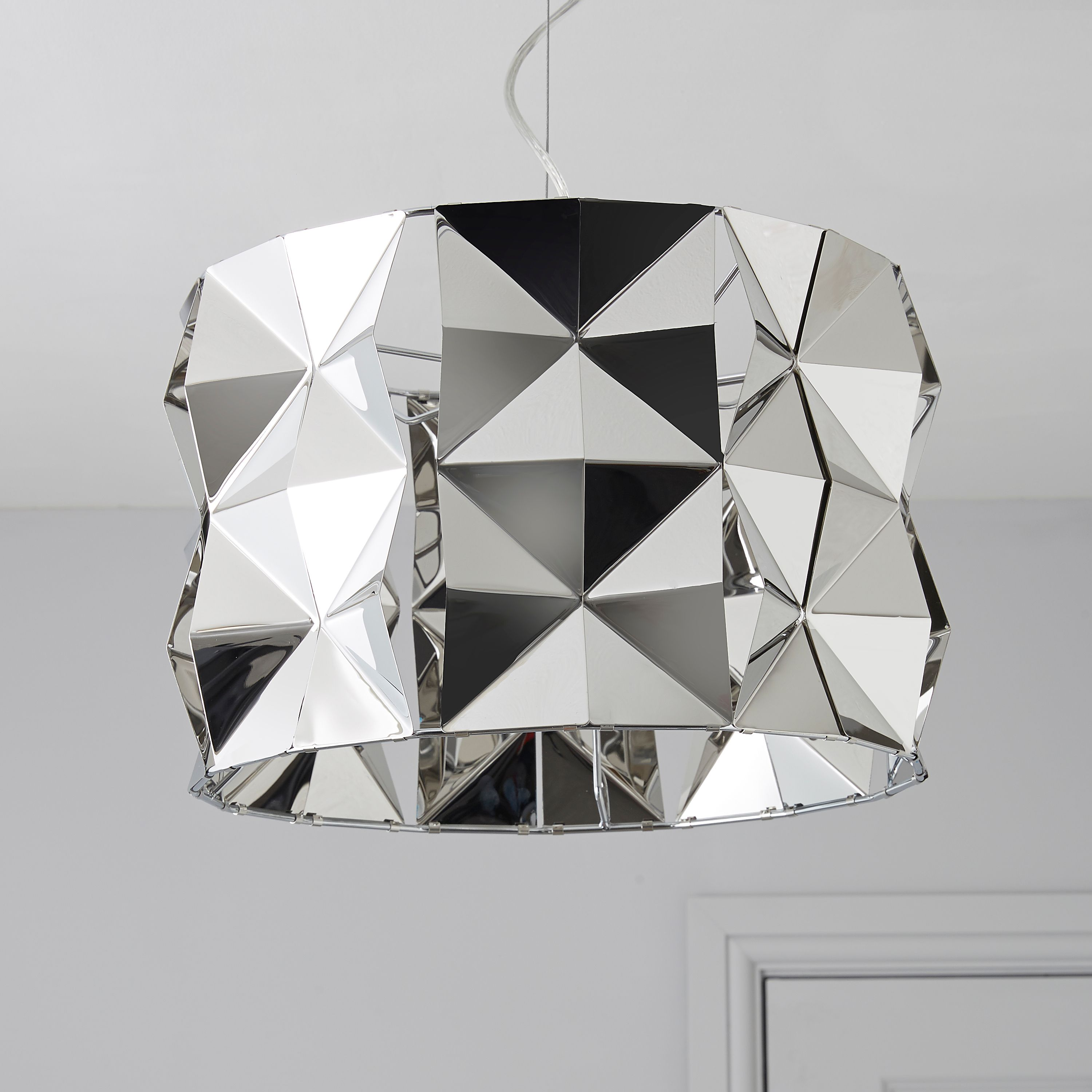 Picture of: Ciara Faceted Silver Chrome Effect Pendant Ceiling Light
