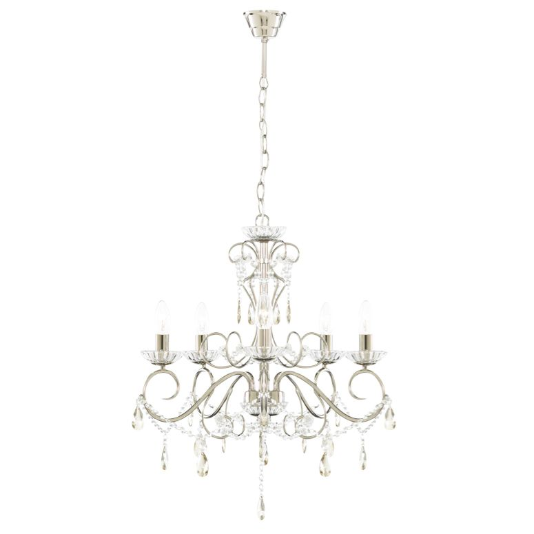 Chesworth silver nickel effect 5 lamp pendant ceiling light aloadofball Image collections