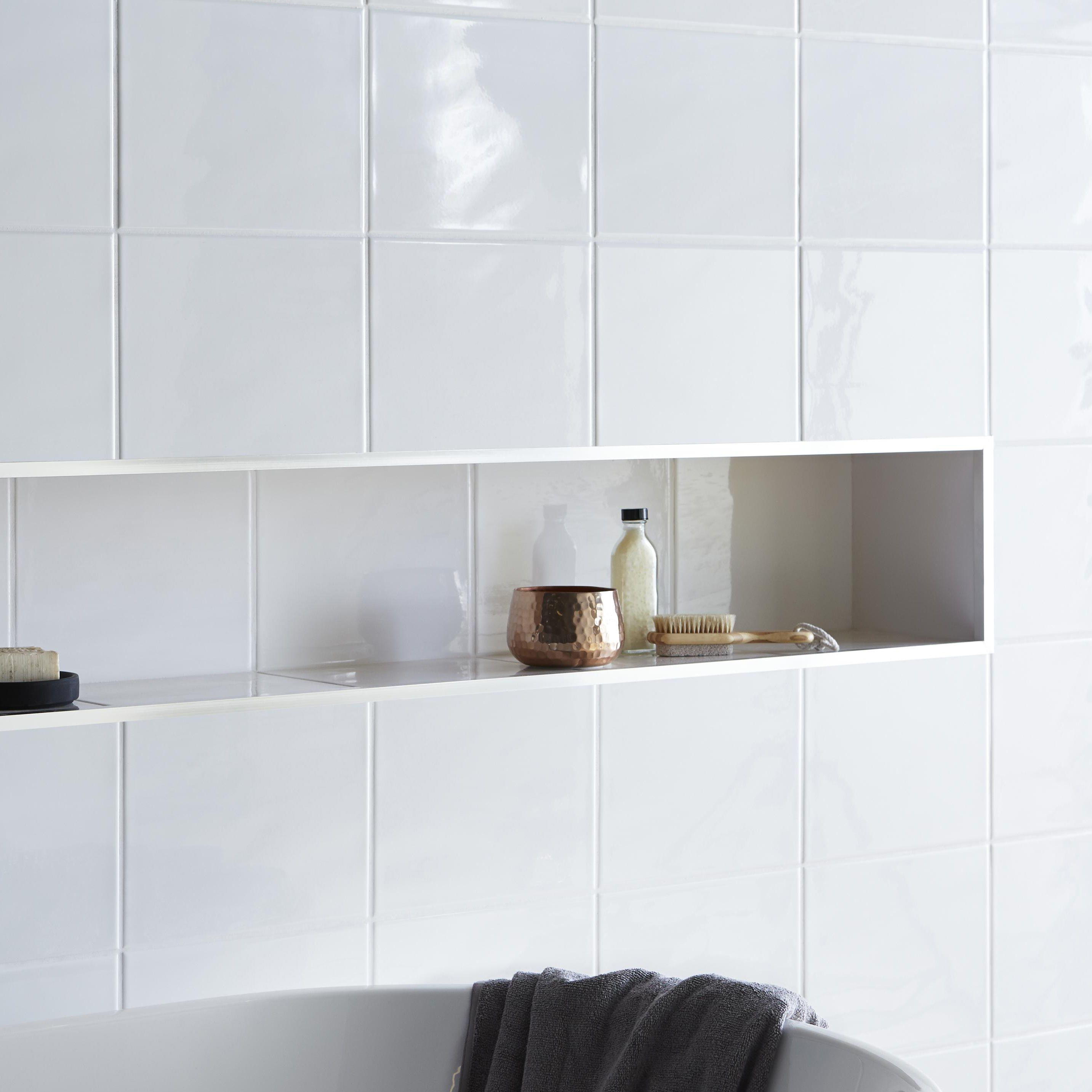 Core White Ceramic Wall Tile Pack Of 20 L250mm W200mm