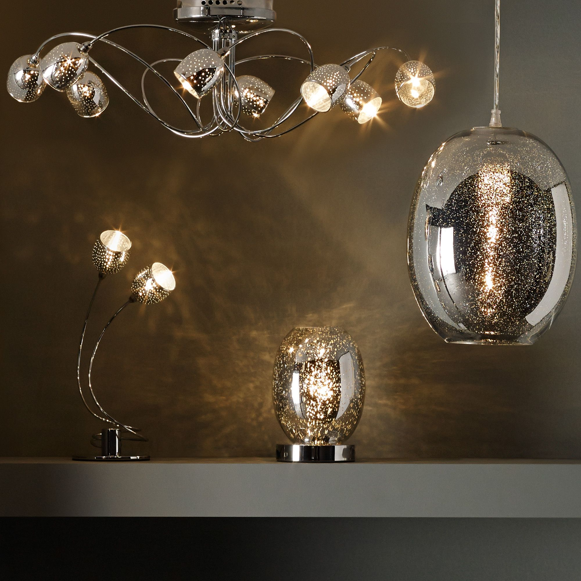 Guerrein chrome effect pendant ceiling light aloadofball Images
