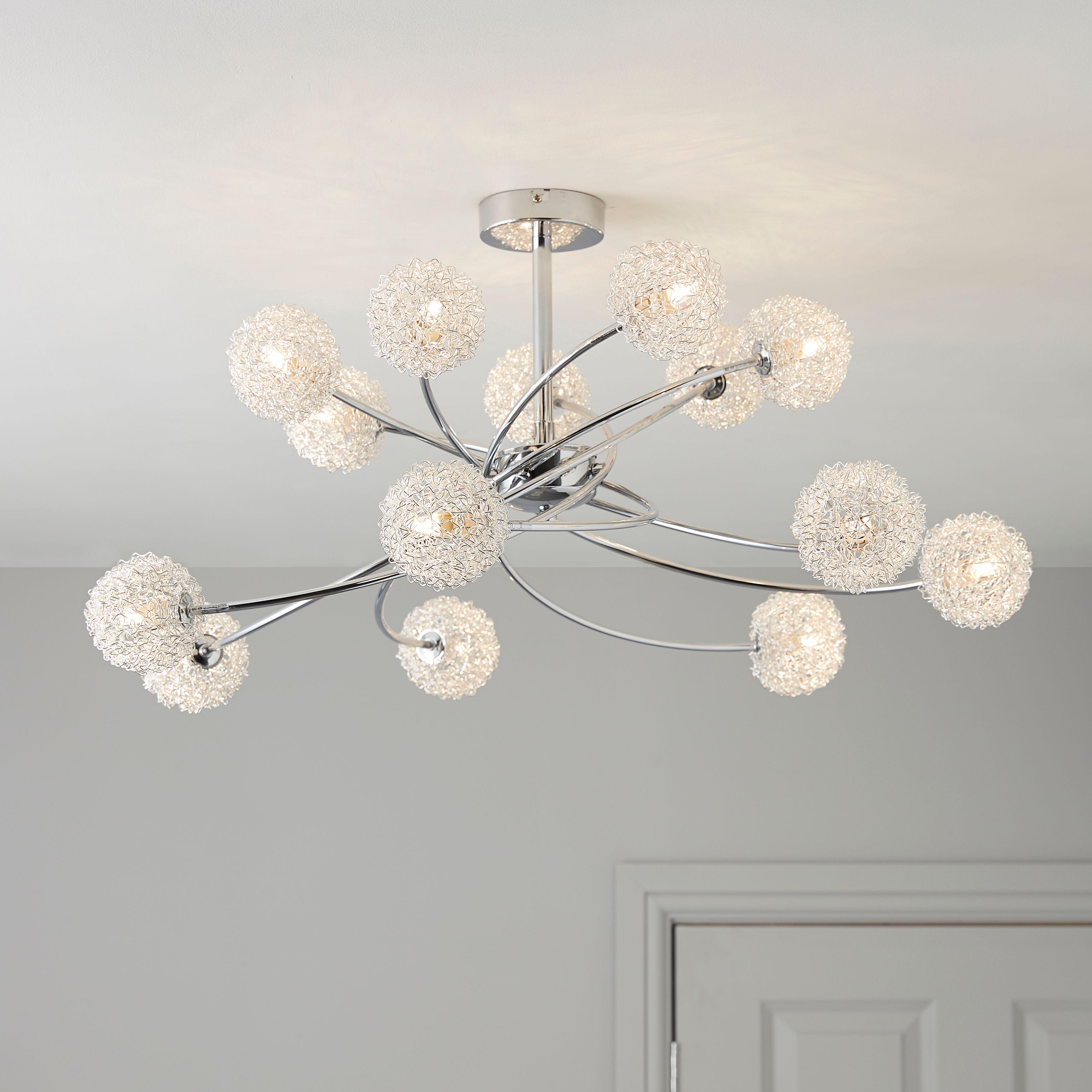 Pallas Chrome Effect 14 Lamp Ceiling Light