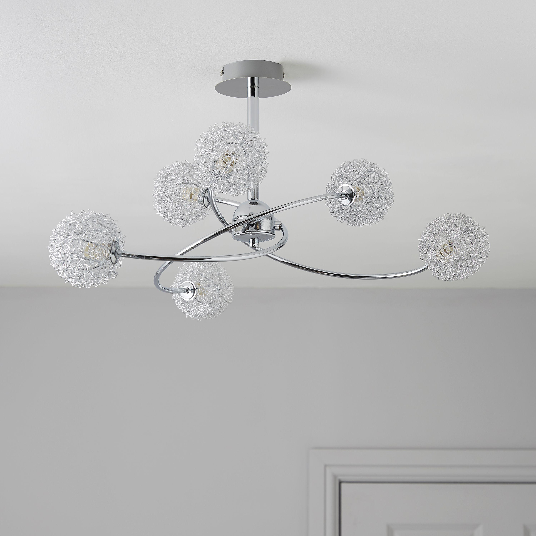 Chrome Effect 6 Lamp Pendant Ceiling Light