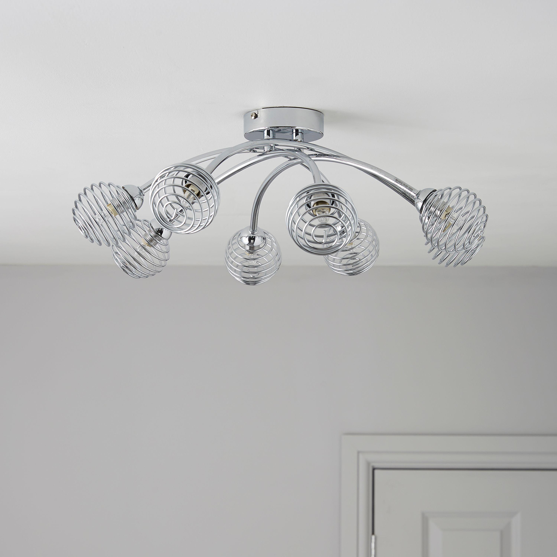 Karli Chrome Effect 8 Lamp Ceiling Light