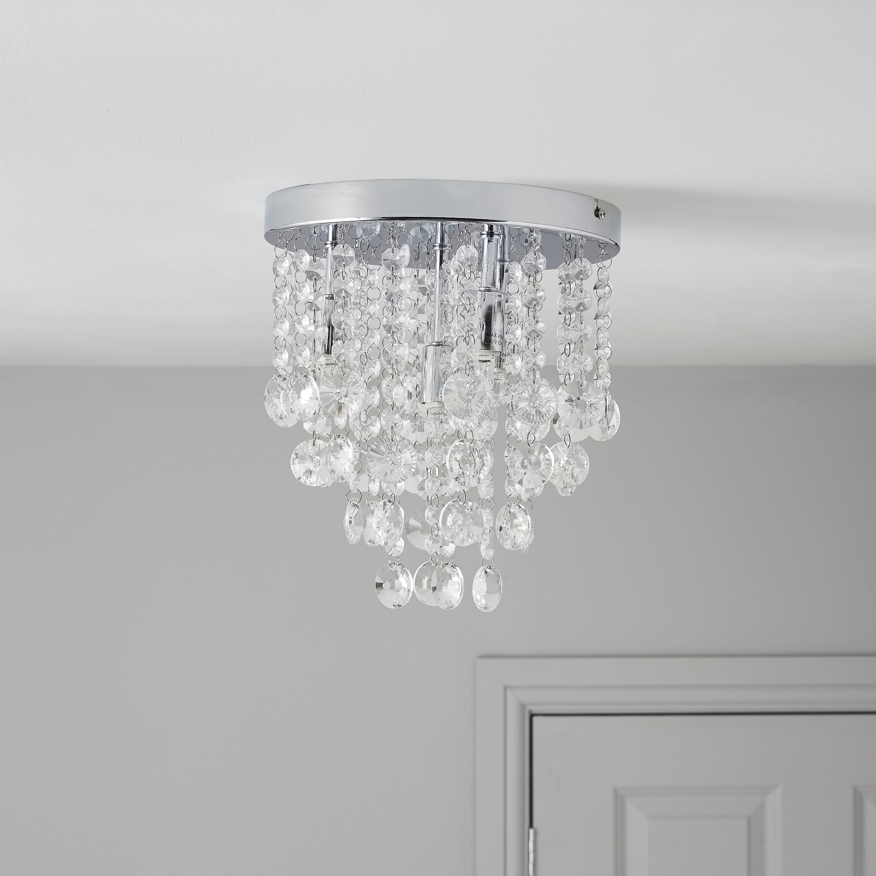 Picture of: Glimmer Crystal Droplets Clear Chrome Effect 4 Lamp Ceiling Light