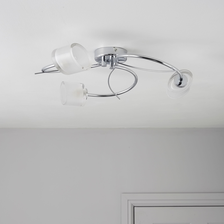 Ferro spiral chrome effect 3 lamp ceiling light aloadofball Images