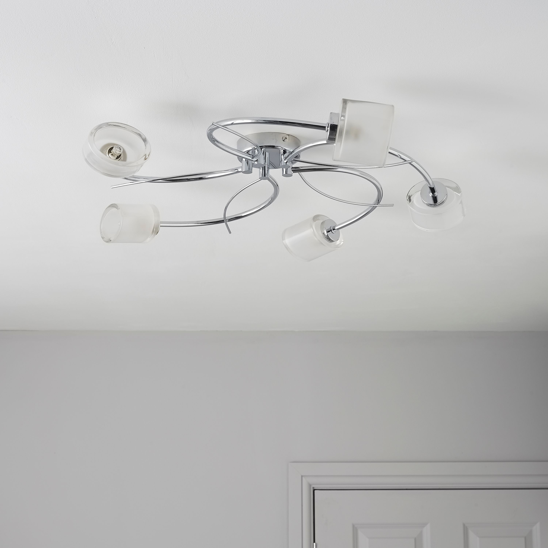 Ferro spiral chrome effect 5 lamp ceiling light aloadofball Images