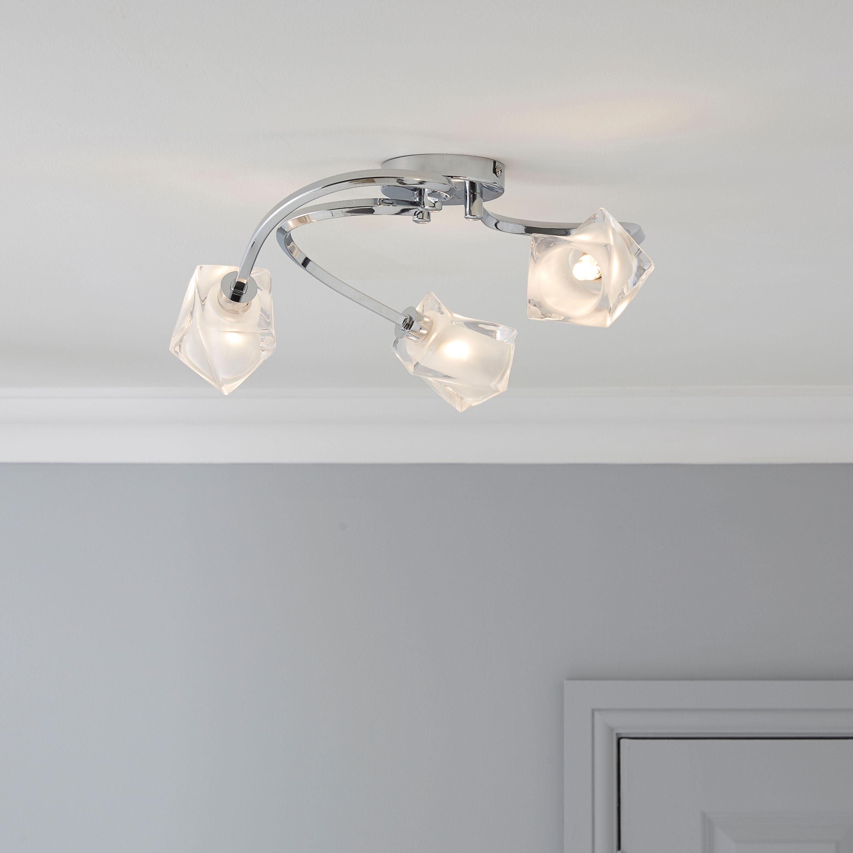 Picture of: Borrello Swirl Chrome Effect 3 Lamp Ceiling Light