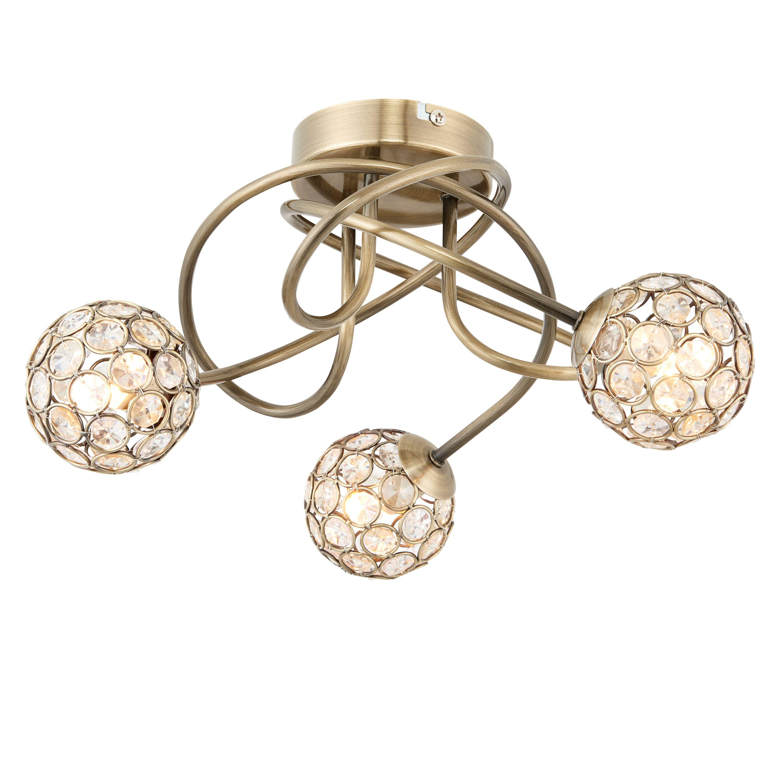 Lopez antique brass effect 3 lamp ceiling light mozeypictures Choice Image