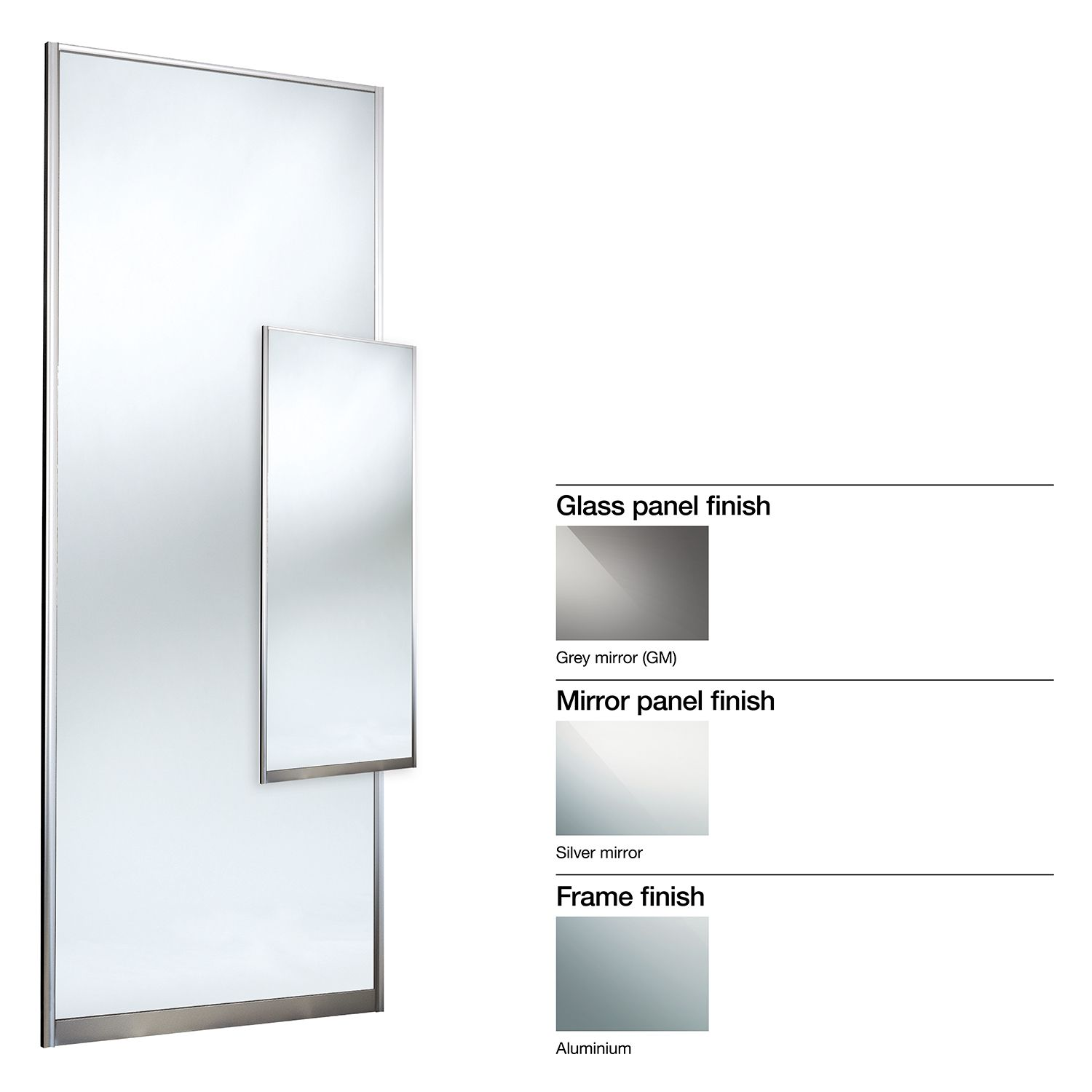Made To Measure Double Sided 1 Panel Mirror Sliding Wardrobe Door W