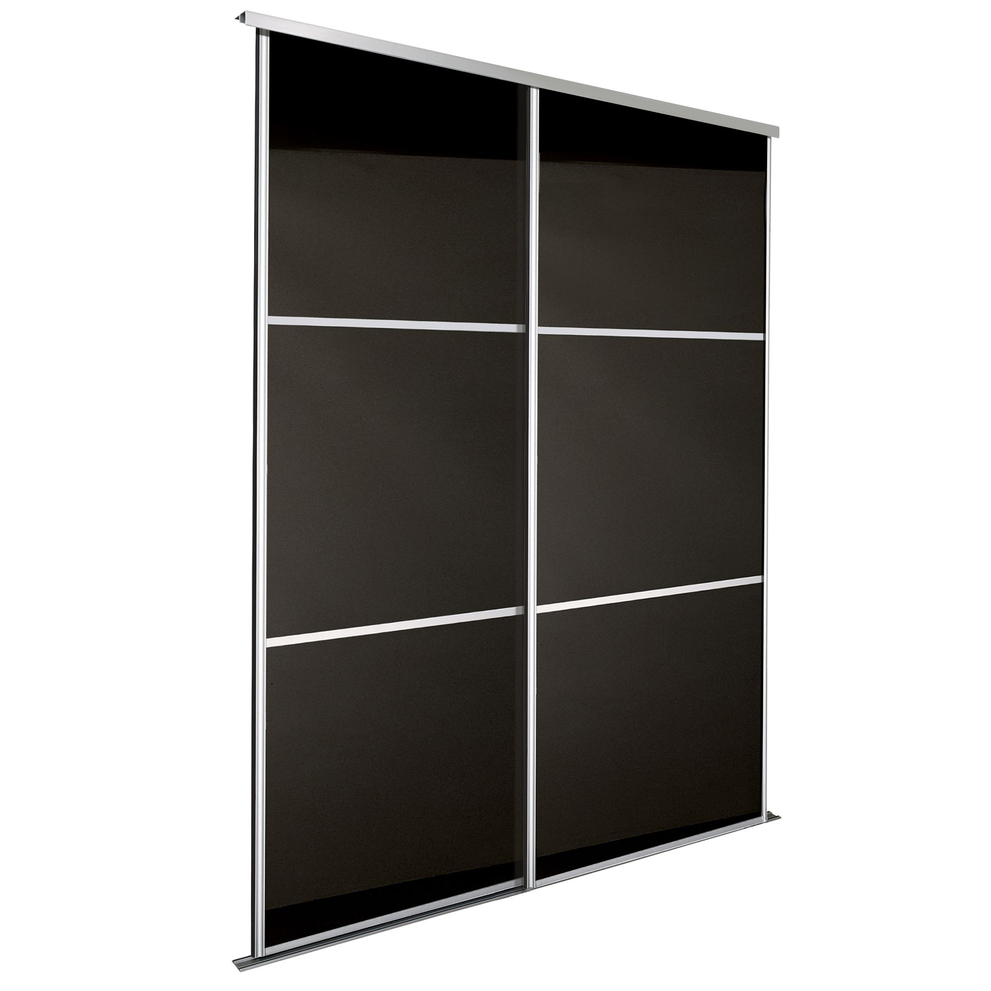 Premium Select Black Glass Effect Sliding Wardrobe Door Kit H2200