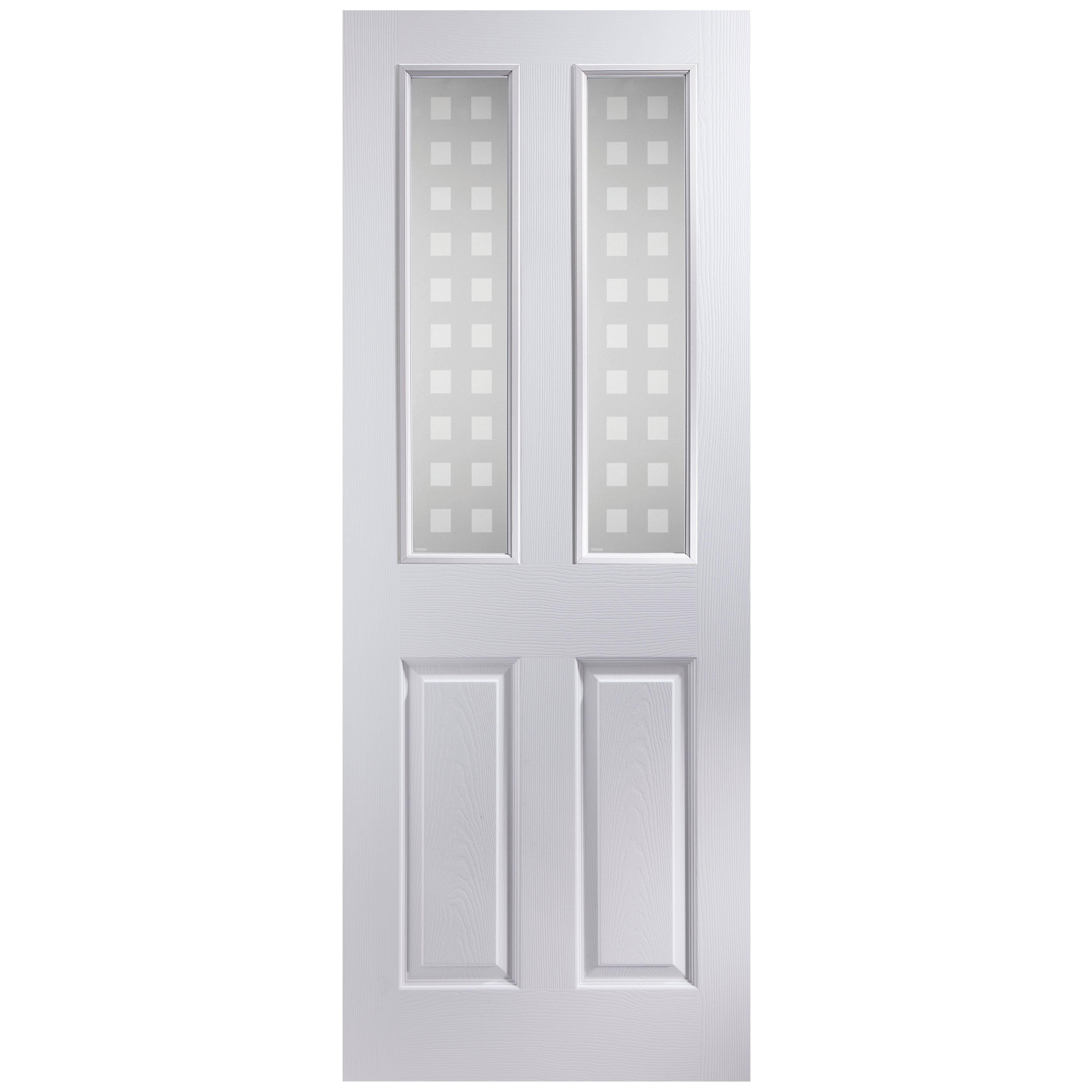 4 Panel Pre Painted White Woodgrain Glazed Internal Door H1981mm