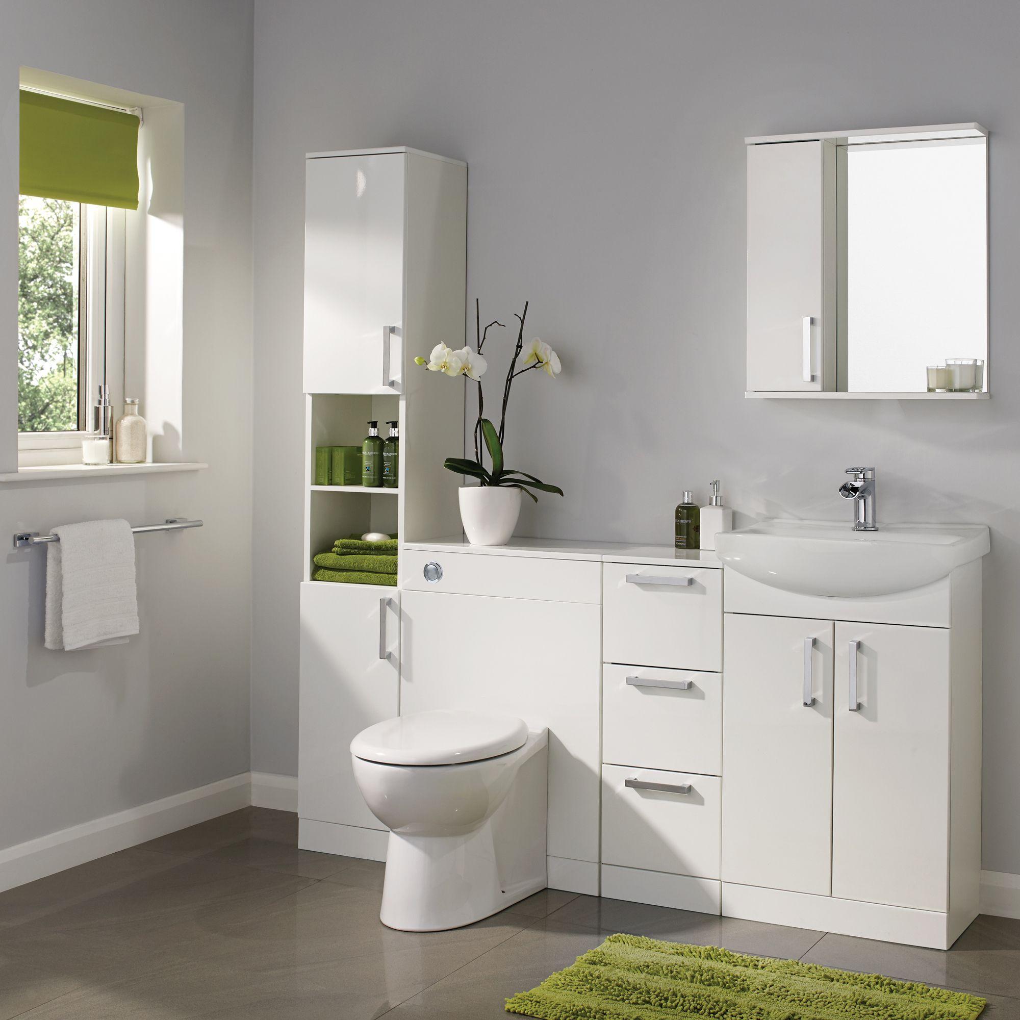 Ardenno Gloss White Vanity Unit Basin Set