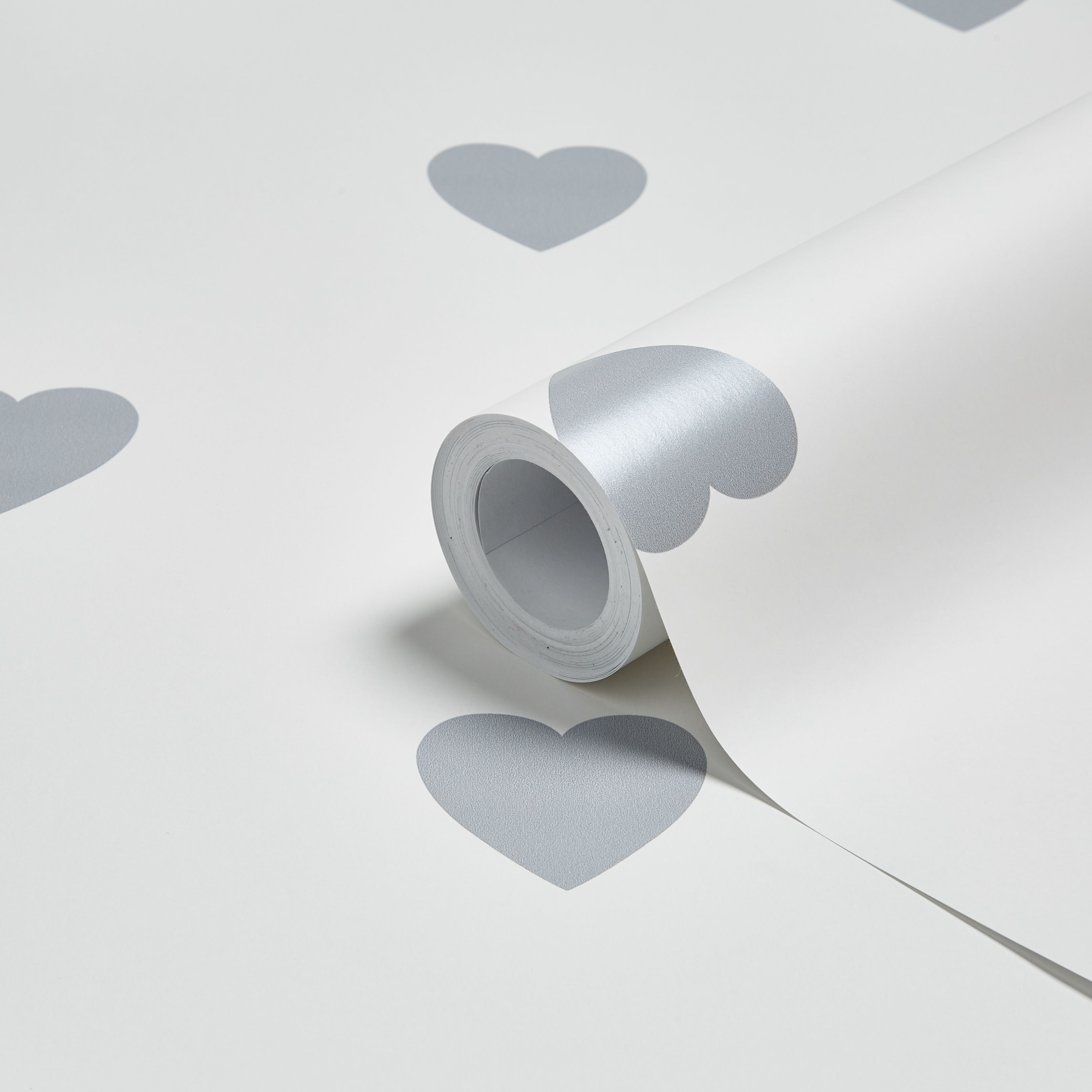 Baby Colours Silver Little Hearts Mica Effect Wallpaper