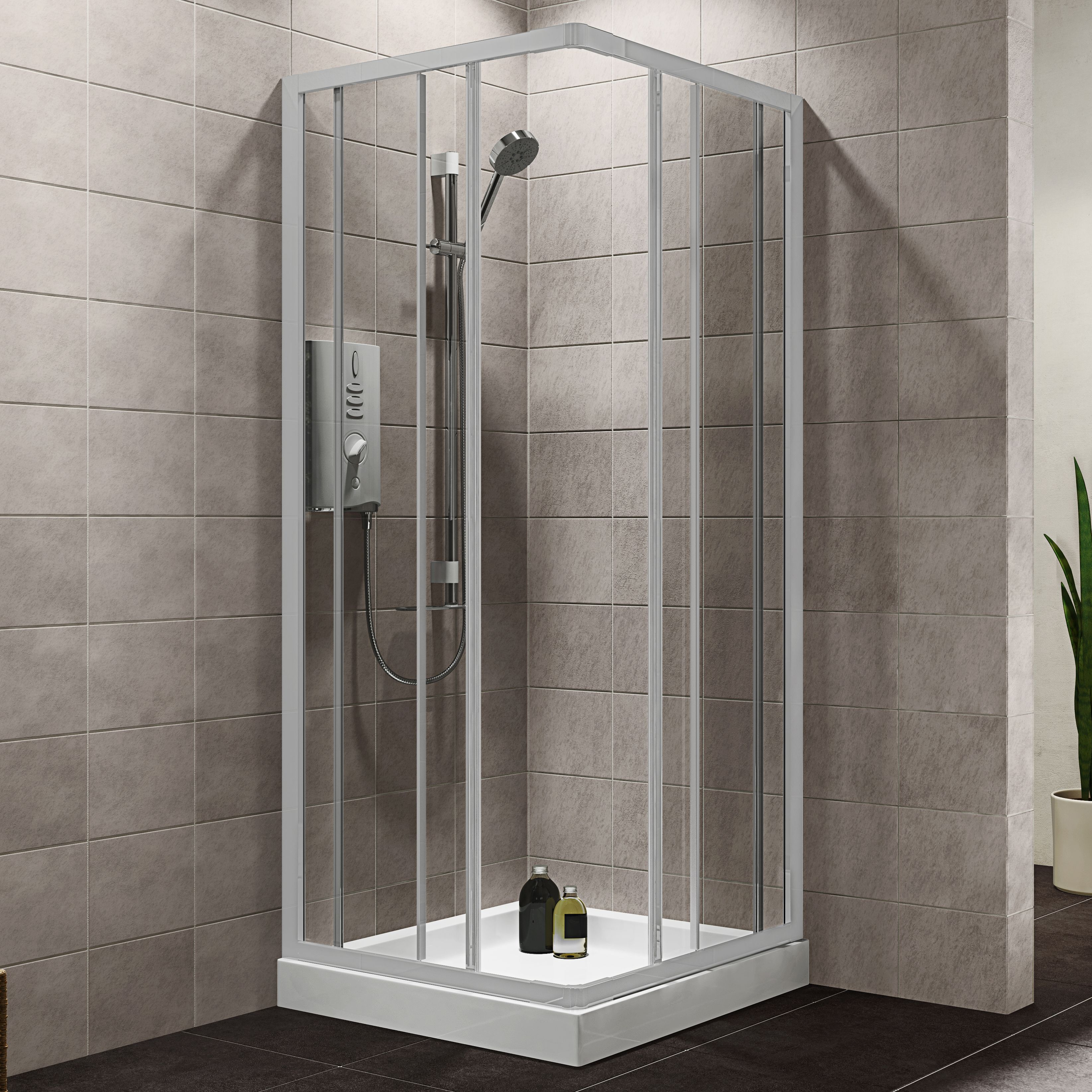 Plumbsure Square Shower Enclosure, Tray & Waste Pack with White ...