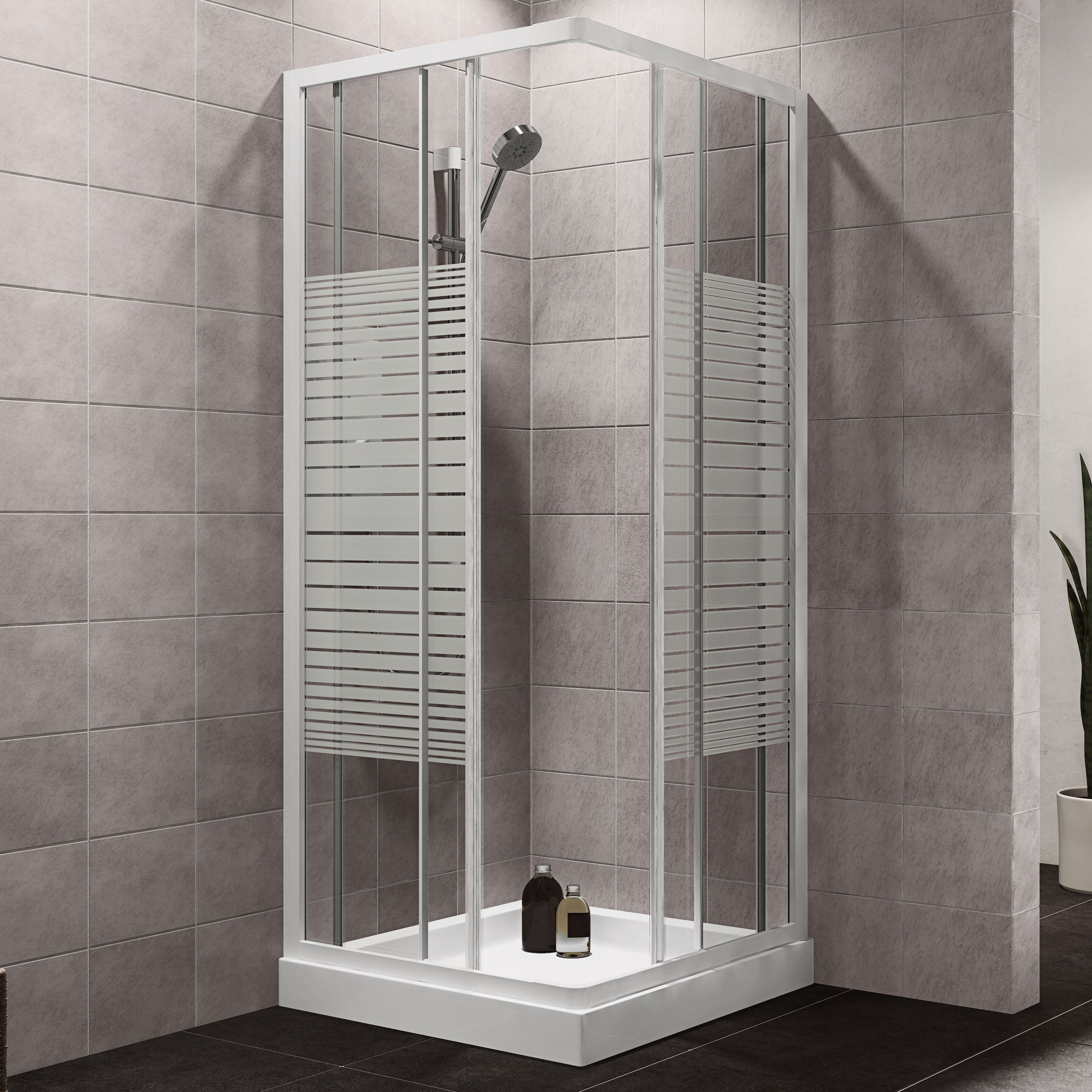 Plumbsure Square Shower Enclosure with White Frame & Double Sliding ...