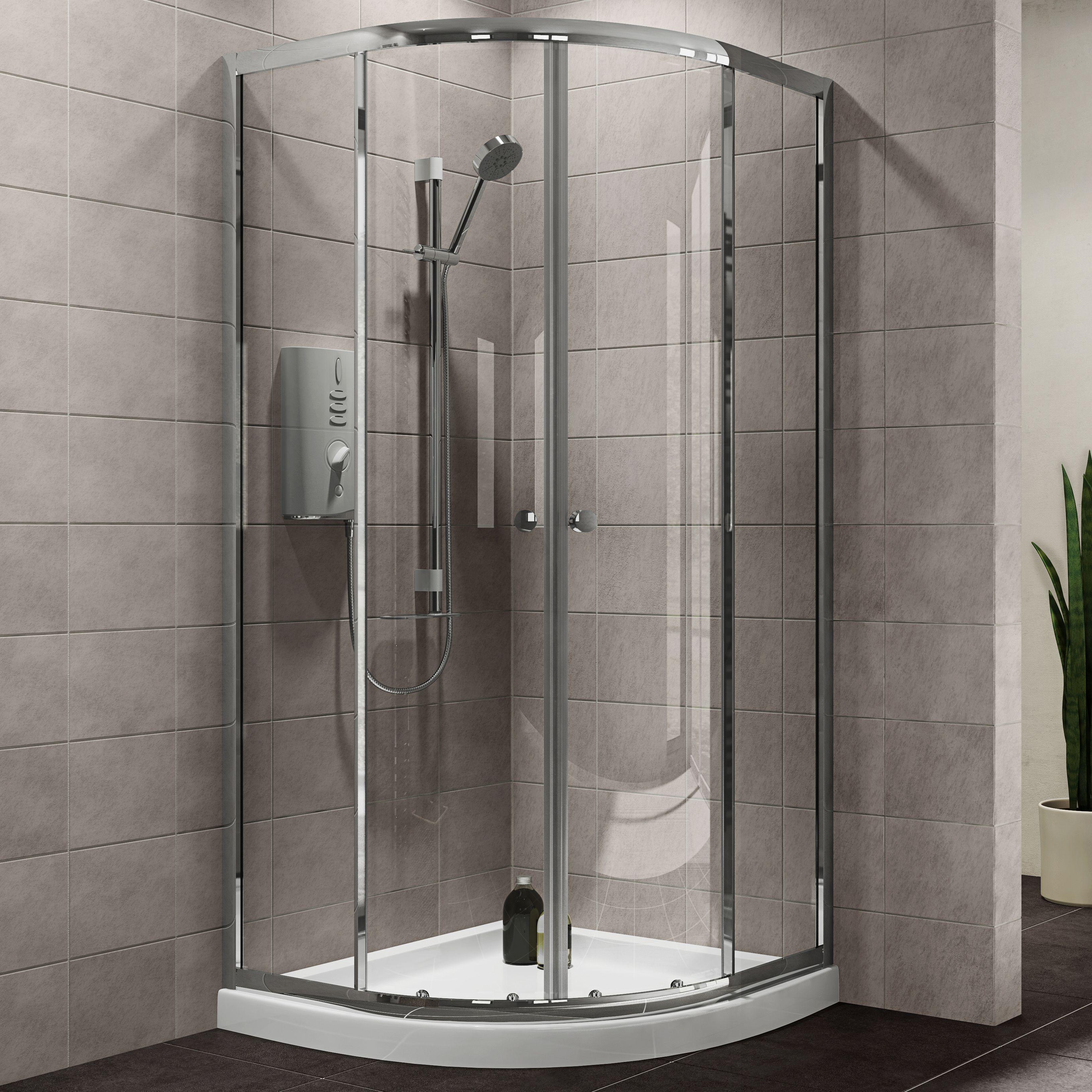 Plumbsure Quadrant Shower Enclosure with Double Sliding Doors (W ...