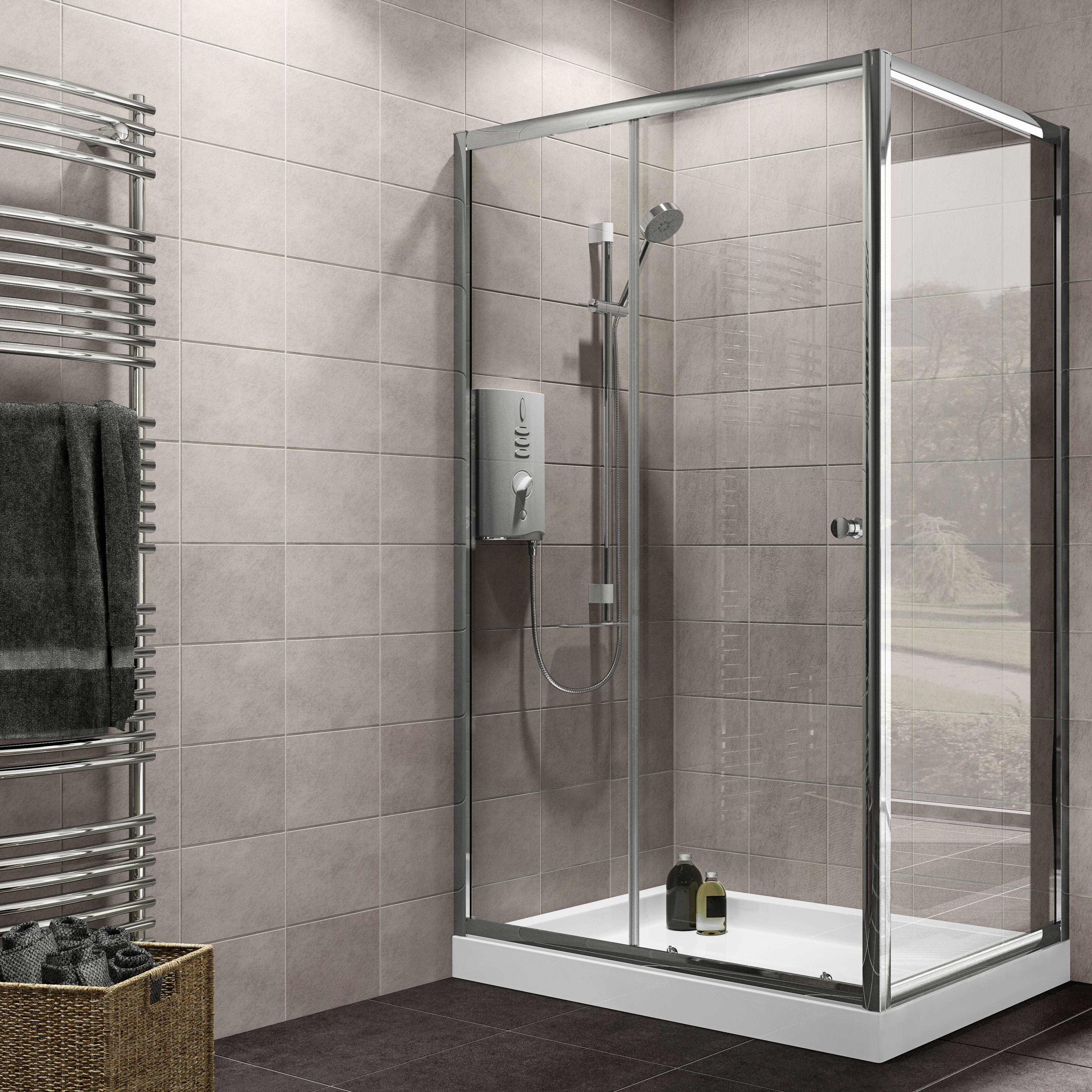 Plumbsure Rectangular Shower Enclosure with Single Sliding Door (W ...
