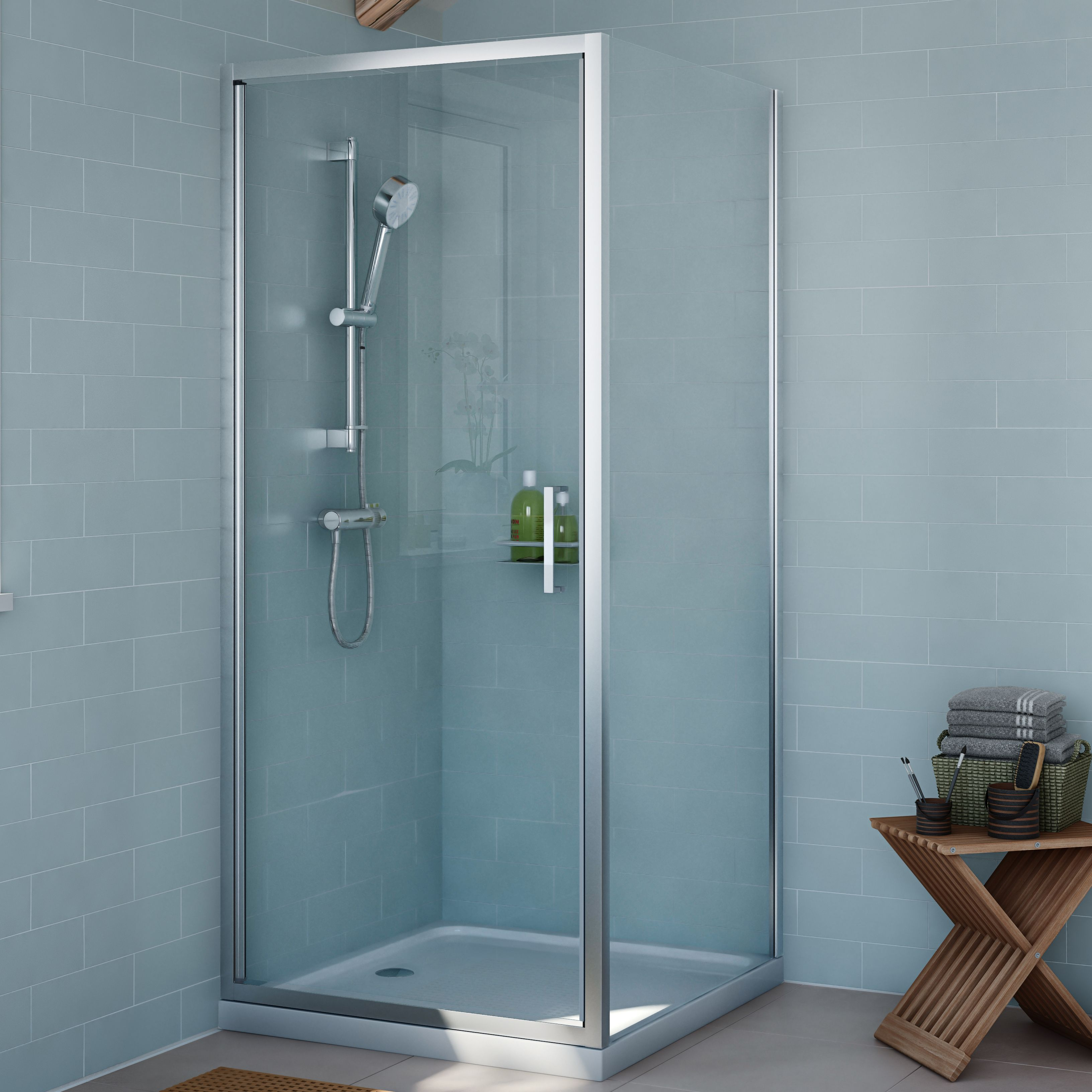 Cooke & Lewis Exuberance Square Shower Enclosure with Hinged Door (W ...