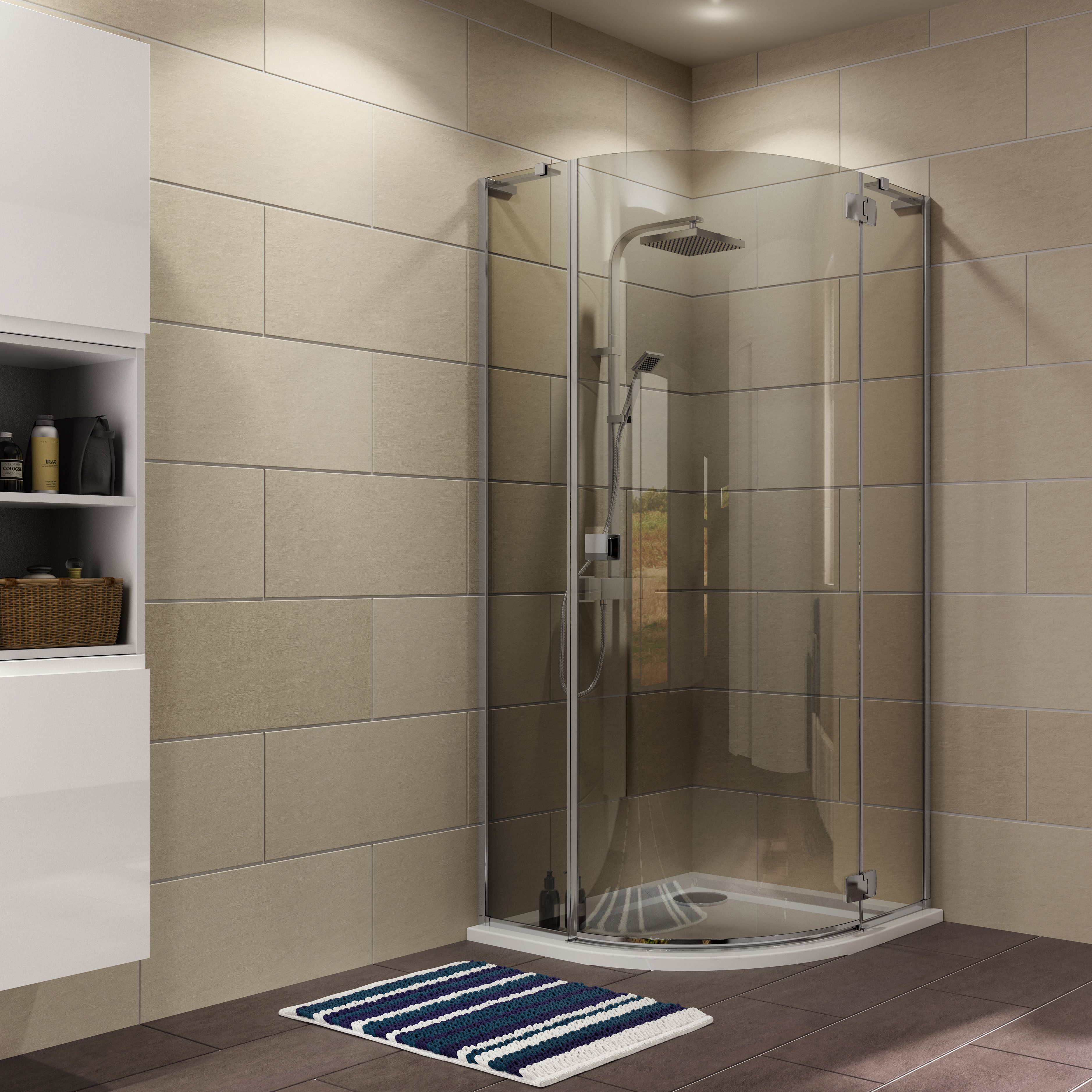 Cooke & Lewis Luxuriant Quadrant Shower Enclosure with Hinged Door ...