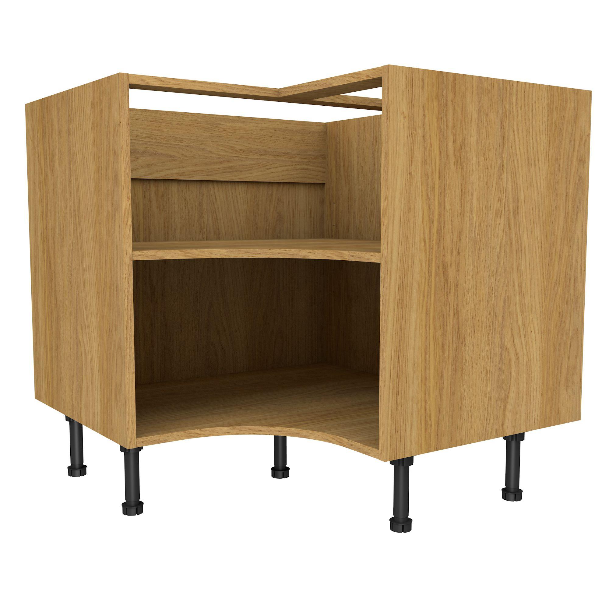 Cooke Lewis Oak Effect Curved Corner Base Cabinet W 925mm