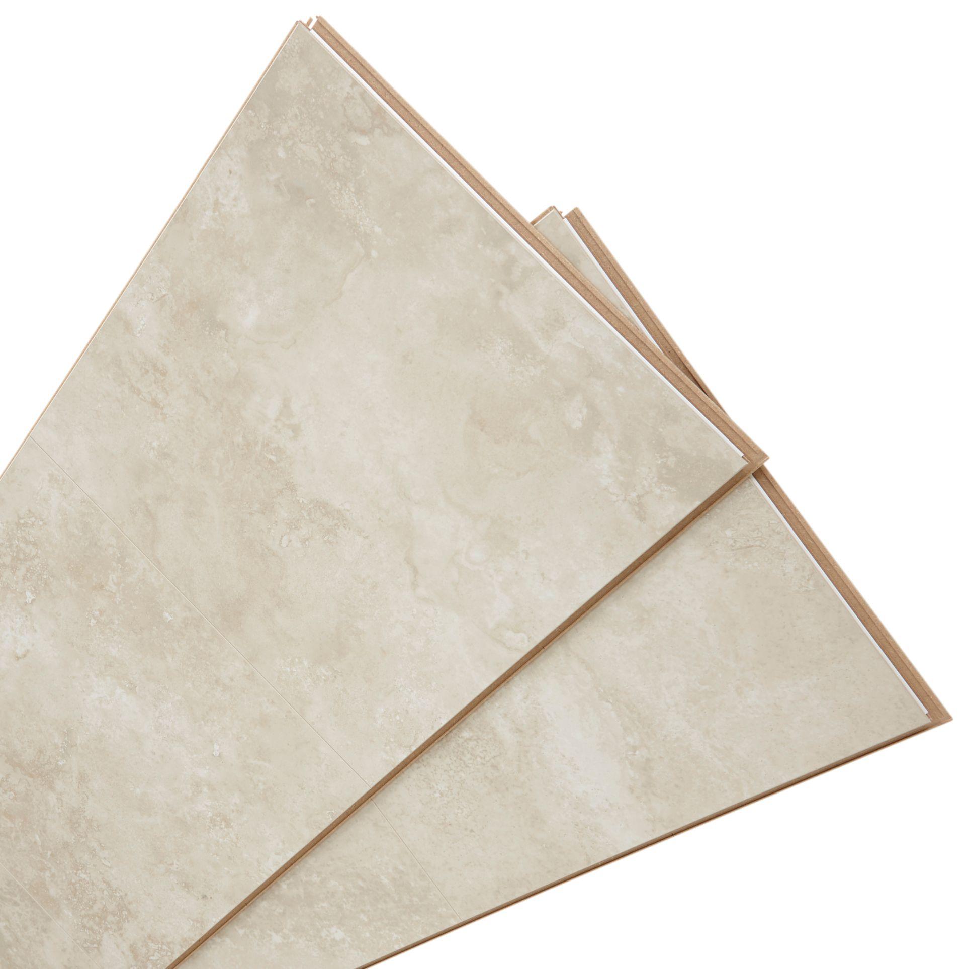 Tila Cream Travertine Tile Effect Laminate Flooring