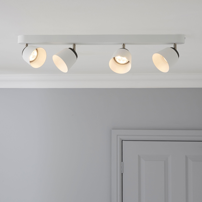 new concept 8af36 35afe Dender County White 4 Lamp Ceiling Spotlight Bar