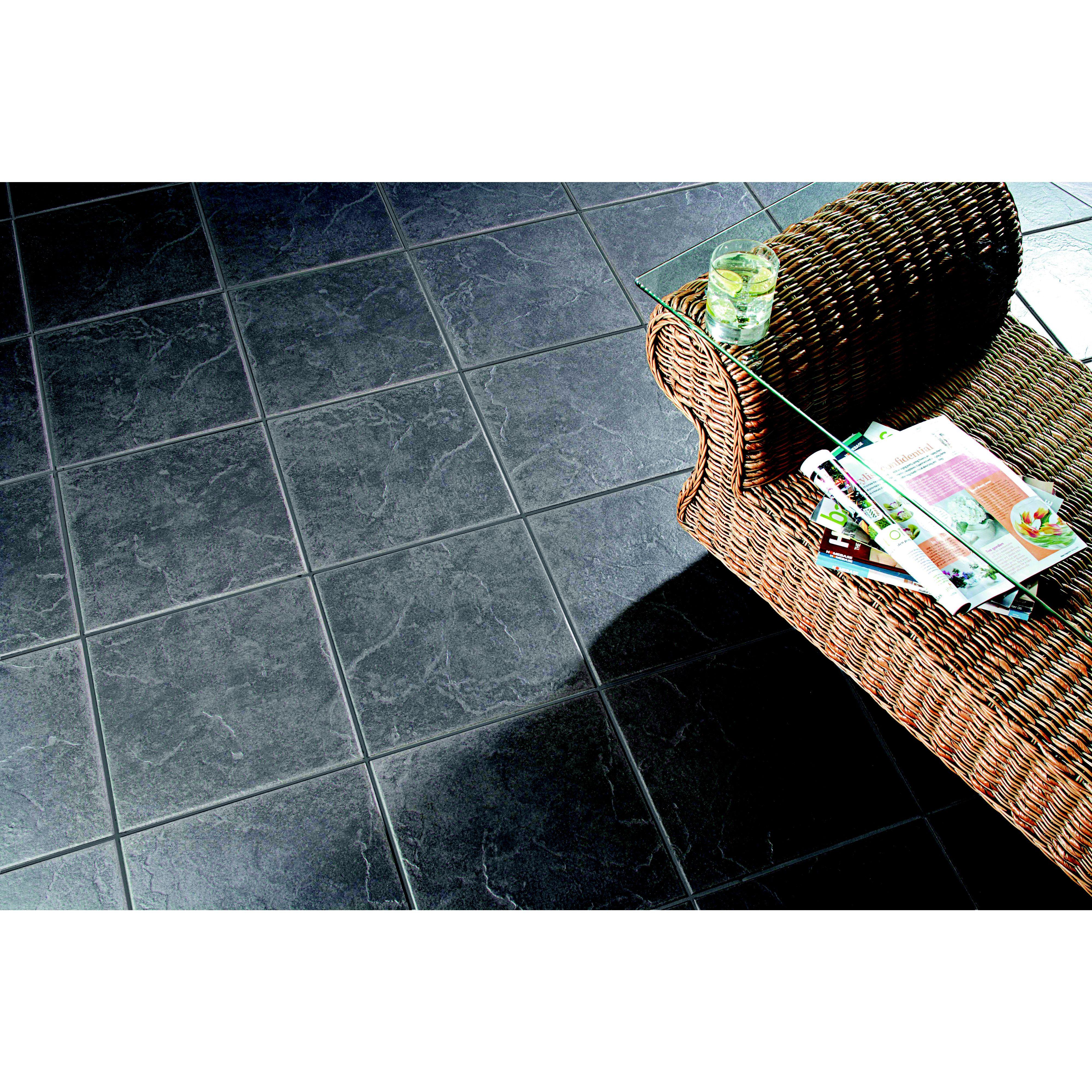cuba dark grey floor tiles 330 x 330mm 9 pack