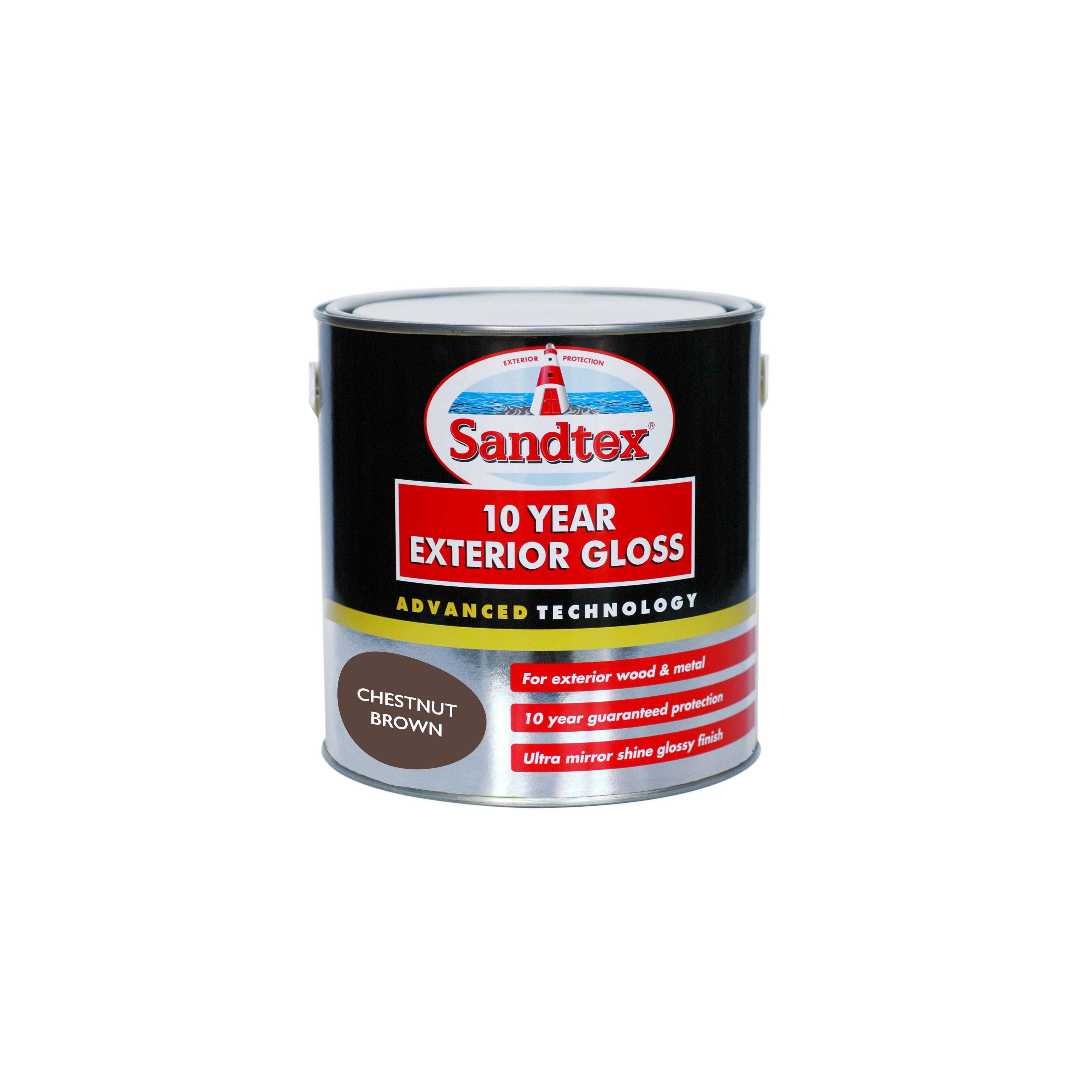Sandtex Chestnut Brown - Exterior Gloss Paint - 2.5L on zinsser exterior paint, dulux exterior paint, glidden exterior paint, gloss exterior paint, crown exterior paint, satin exterior paint, fired earth exterior paint, weathershield exterior paint, rust-oleum exterior paint,
