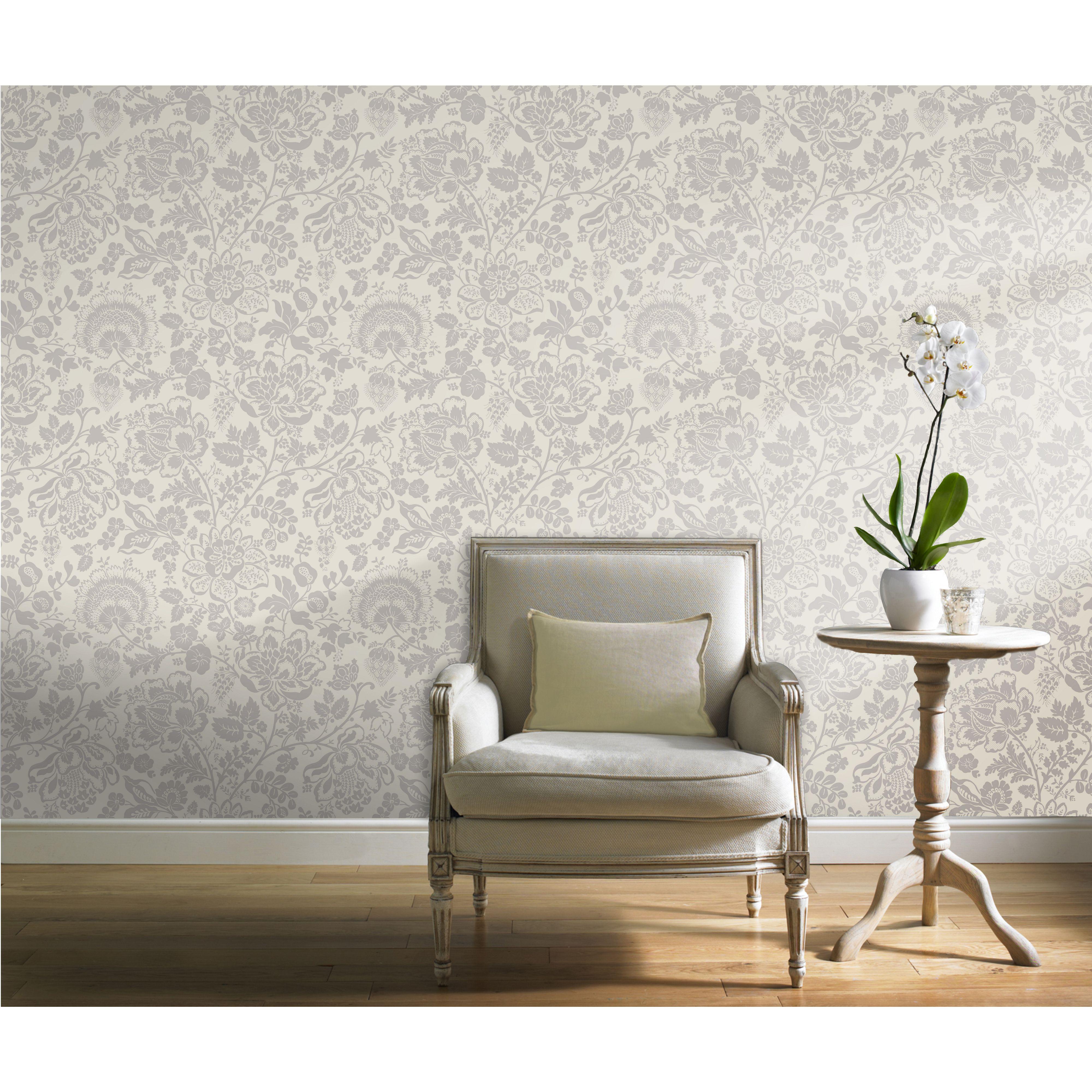 Gran Deco Serena Grey Wallpaper