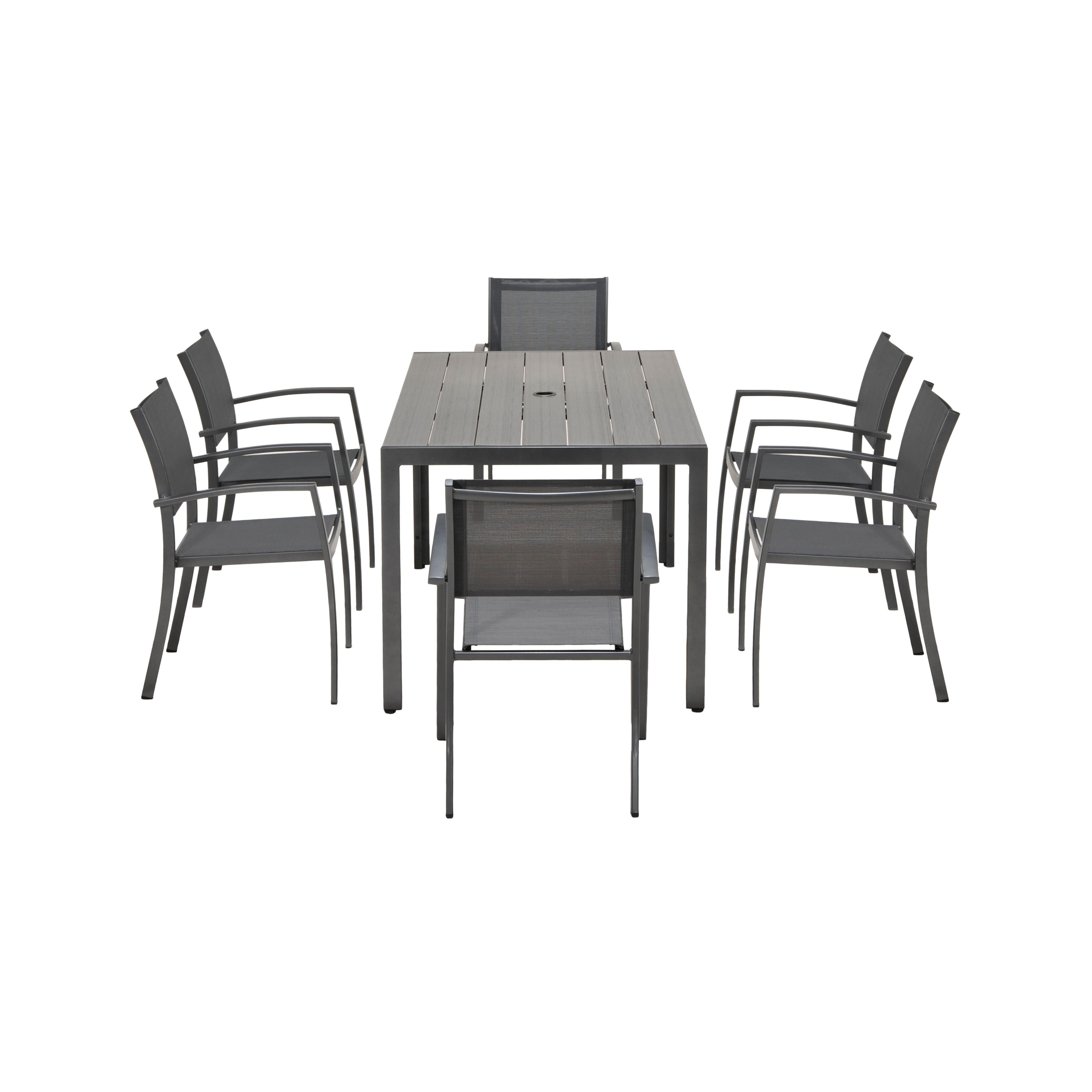 Halden Aluminium & Duraboard 7 Seater Garden Furniture Set - Graphite