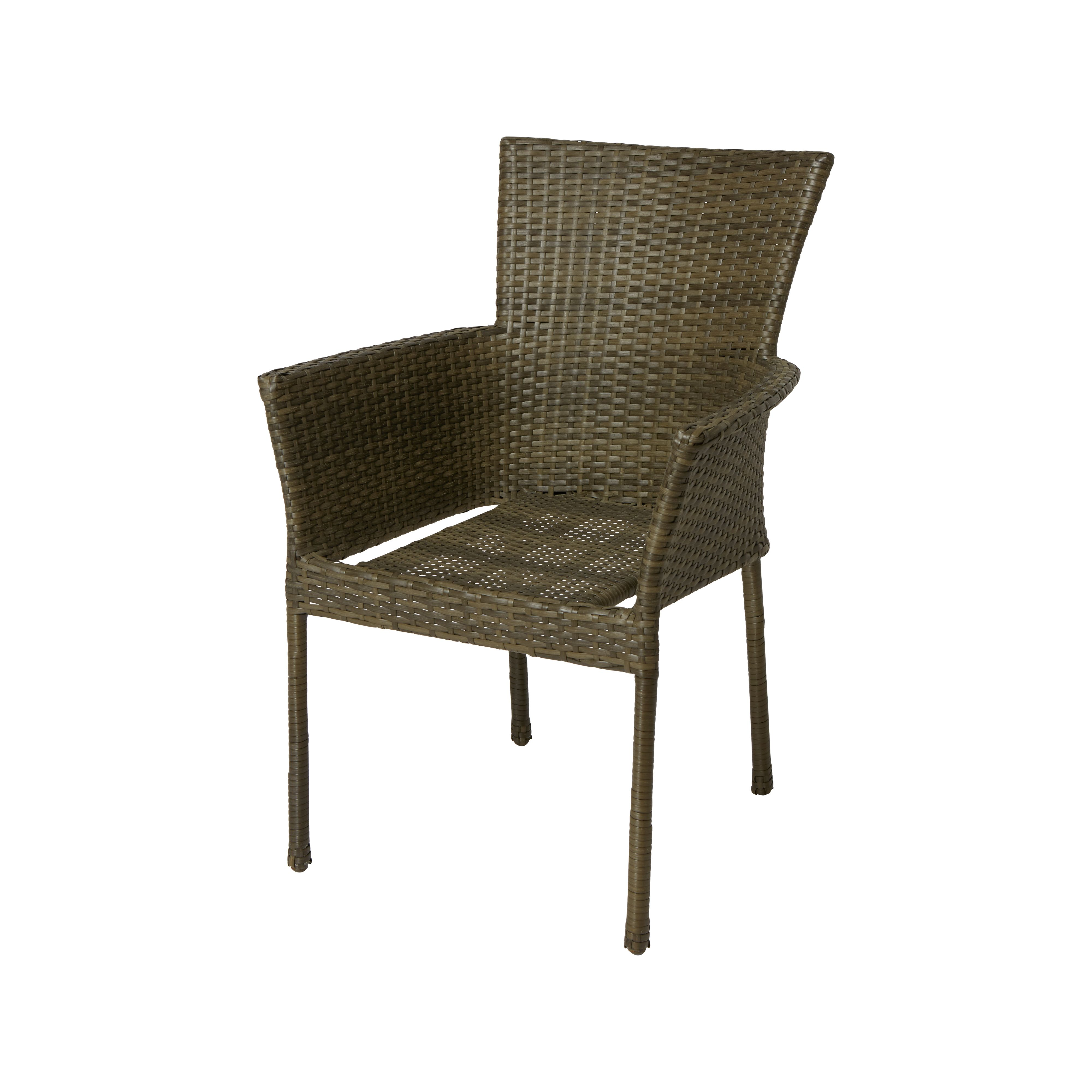 Mali Rattan Effect 6 Seater Garden Furniture Set - Brown & Cream