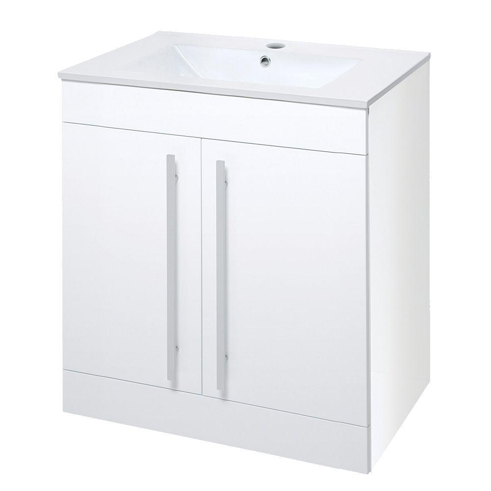 Bathroom Vanity Unit & Basin White Gloss 3 x 3 x 3mm