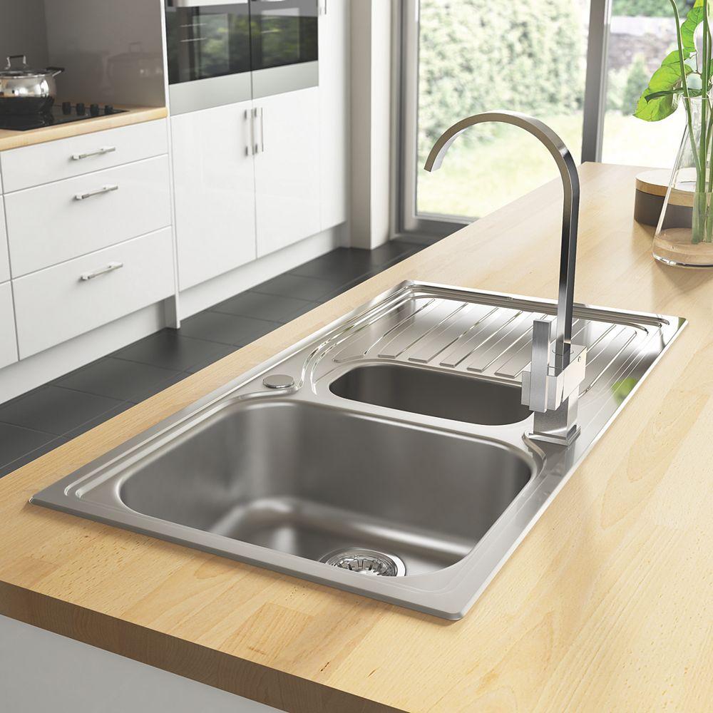 Astracast Alto Kitchen Sink 18 10 Stainless Steel 1 5 Bowls 980 X 510mm