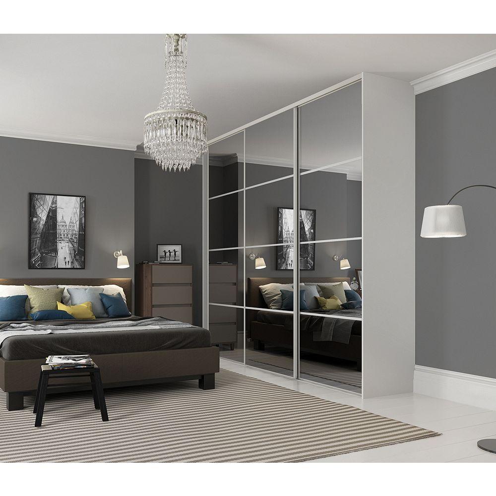 finest selection df827 66af5 Wickes Sliding Wardrobe Door Silver Framed Four Panel Mirror 2220 x 914mm