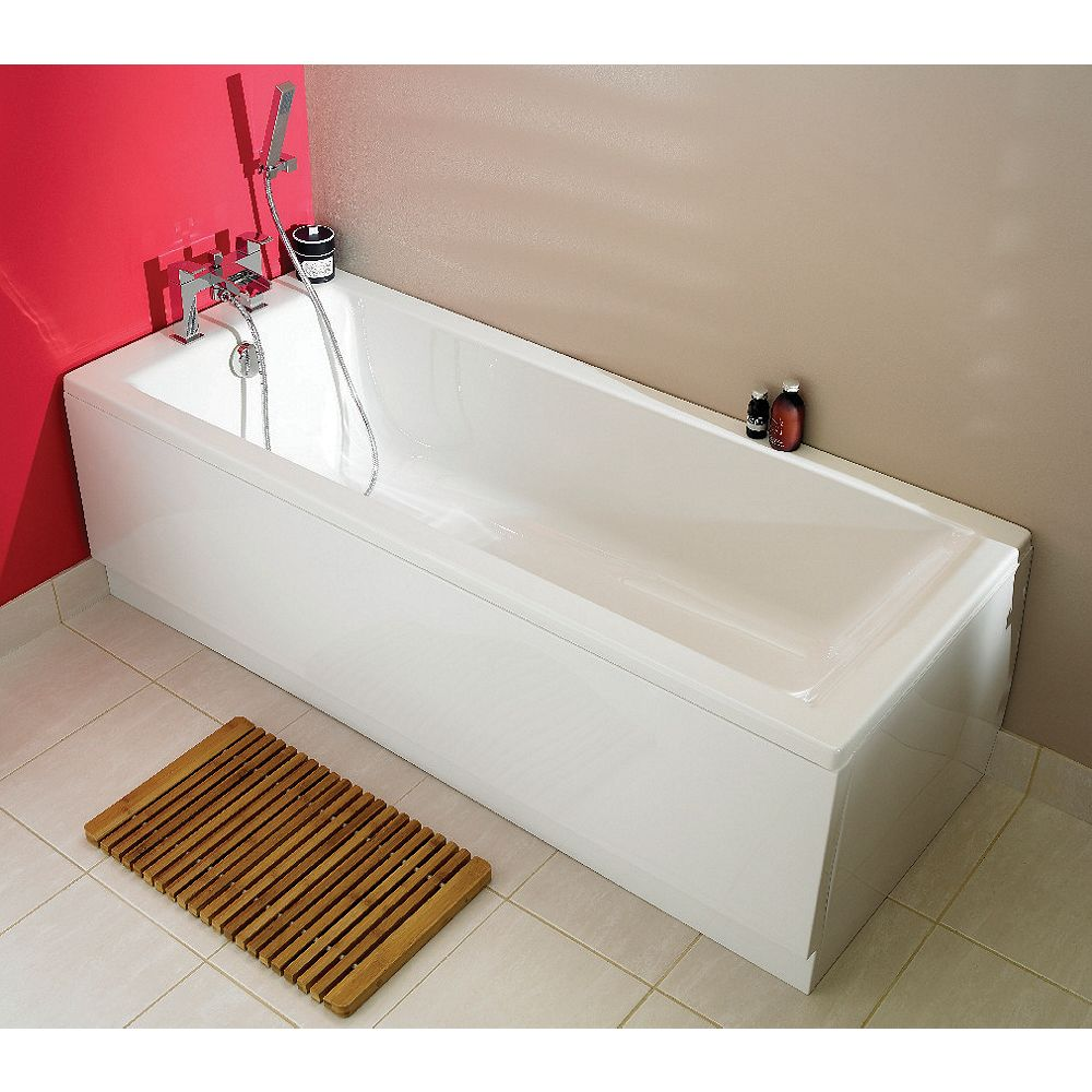 Wickes Mila Straight Straight Bath White White 1700mm