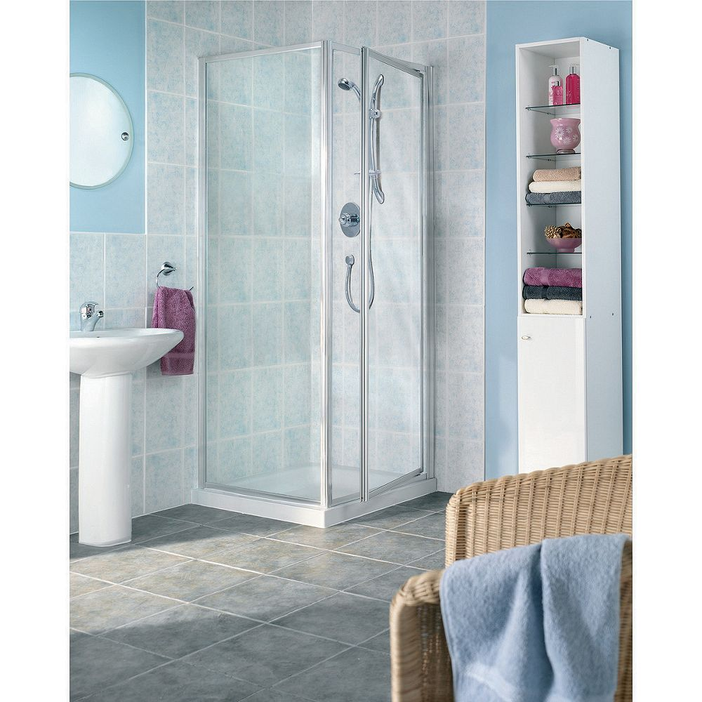 Wickes Pivot Shower Enclosure Door Side Panel Silver Effect Frame 760mm