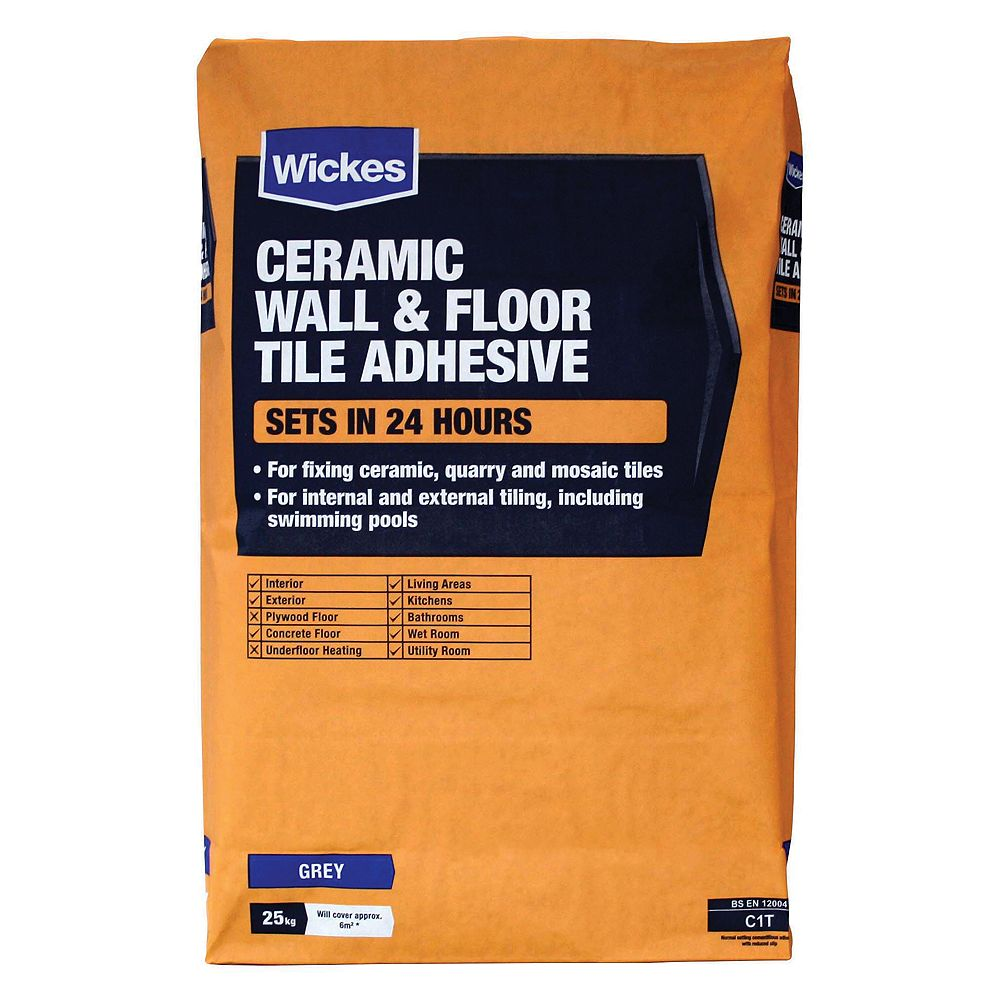 Wickes ceramic tile adhesive grey 20kg dailygadgetfo Image collections