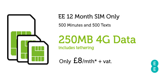 Business SIM Only Deal EE £8