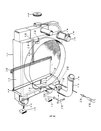 950) - david brown implematic livedrive tractor (1/59-12/61) (084) -  radiator, blind and control case agriculture  avspare.com