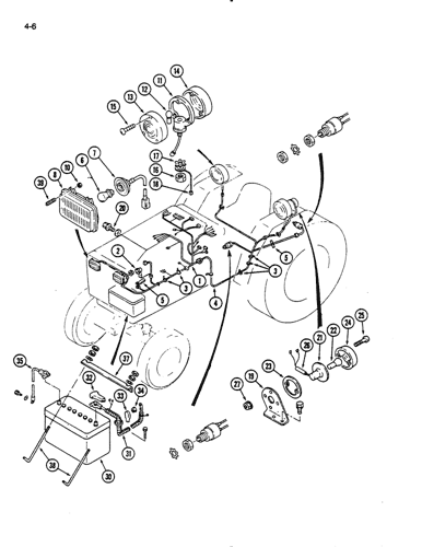 235) - CASE IH TRACTOR (1/86-12/88) (4-06) - WIRING HARNESS AND BATTERY,  HYDROSTATIC TRANSMISSION Case AgricultureAVSpare.com