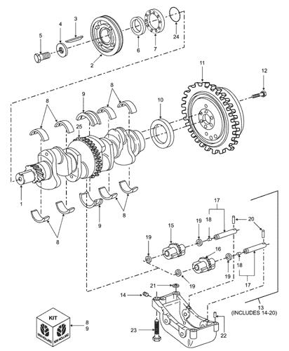 Tb85 4 Cyl Ag Tractor 1 03 12 05 06b01 Non Emissionized Engine Crankshaft Flywheel New Holland Agriculture