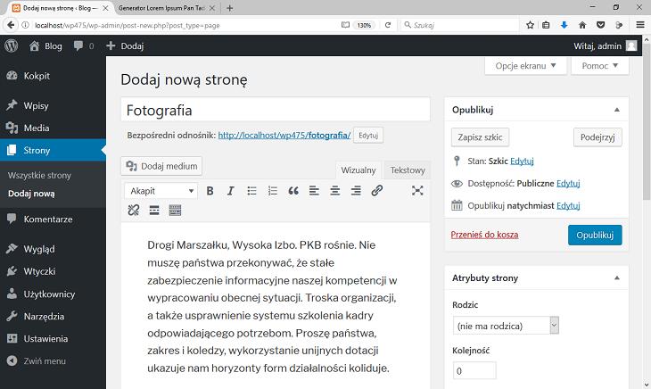 wordpress dodaj nową stronę 2