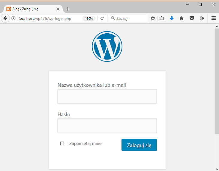 wordpress okno logowania