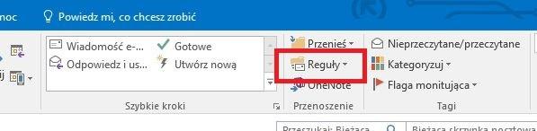 Tworzenie reguł w Microsoft Outlook