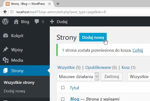 wordpress dodawanie nowej strony