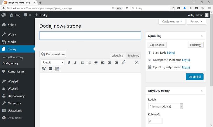 wordpress dodaj nową stronę