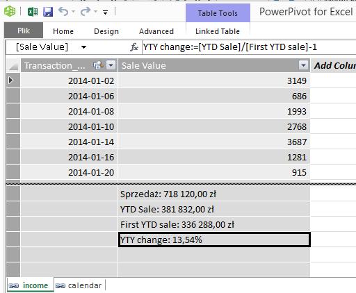 excel - power pivot - YTY change